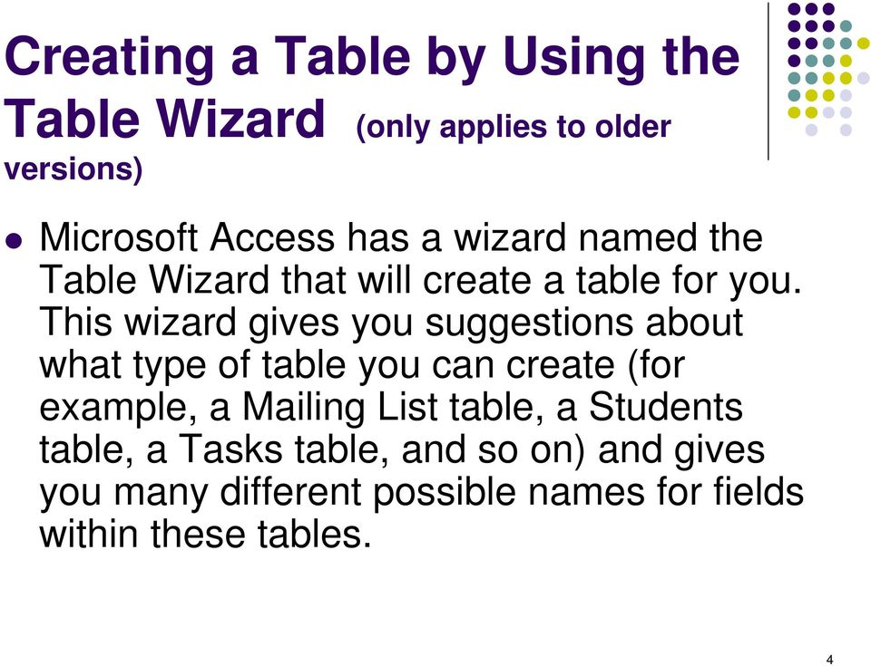 This wizard gives you suggestions about what type of table you can create (for example, a Mailing