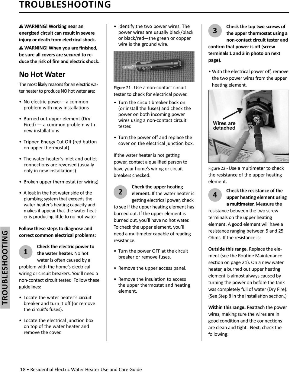 Residen Al Electric Water Heater Pdf Hot Circuit Breaker Check The Top Two Screws Of 3 Upper Thermostat Using A Non Contact
