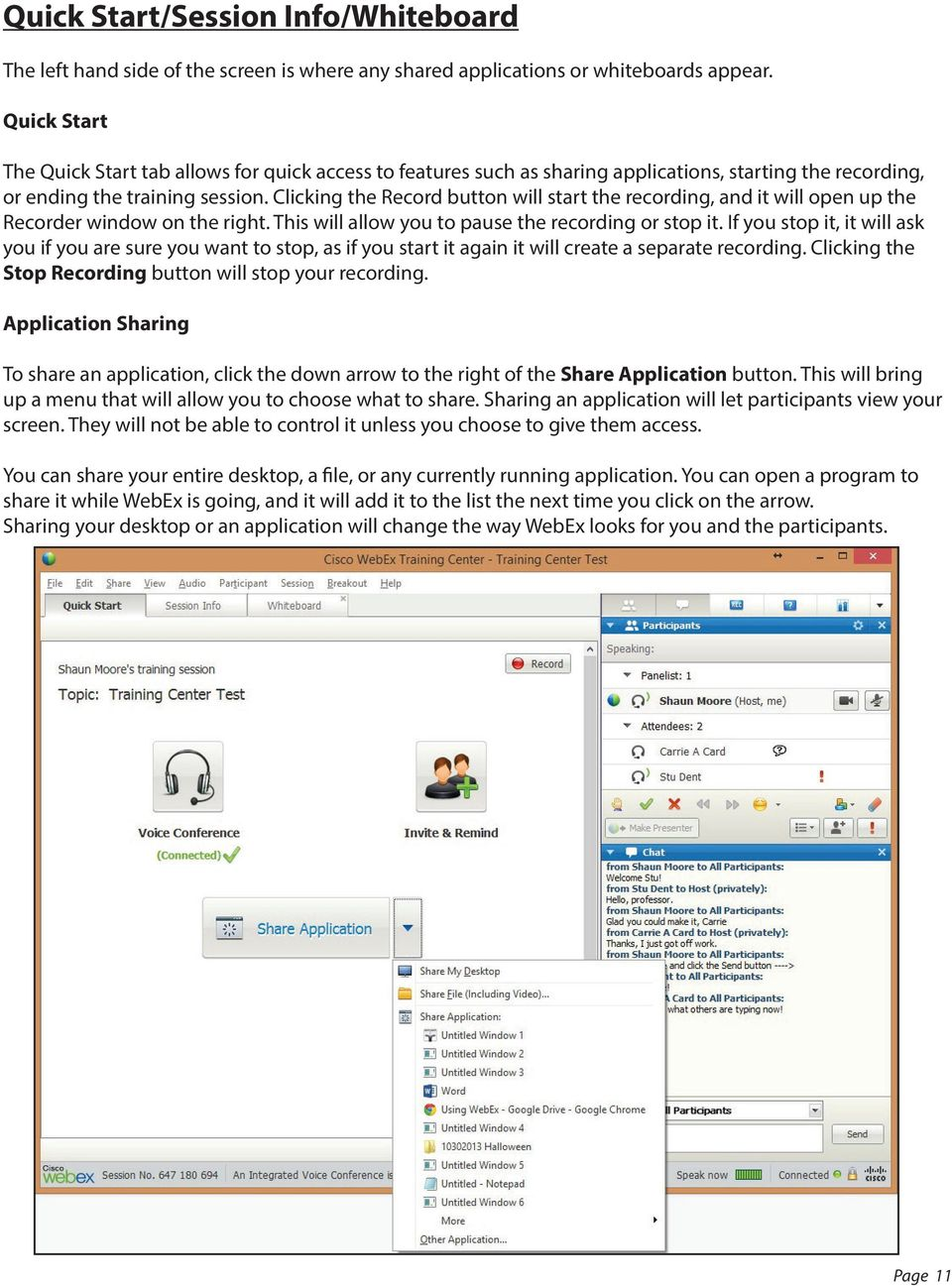 Using WebEx  Support  Accessing WebEx  WebEx Main Screen - PDF