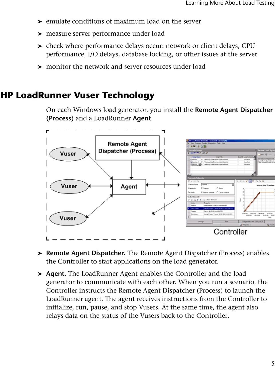 a LoadRunner Agent. Remote Agent Dispatcher. The Remote Agent Dispatcher (Process) enables the Controller to start applications on the load generator. Agent. The LoadRunner Agent enables the Controller and the load generator to communicate with each other.
