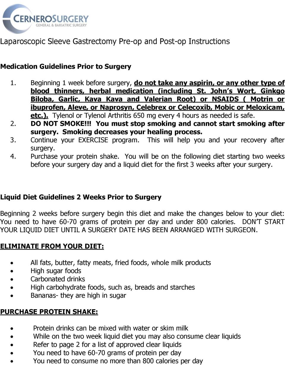 Post bariatric surgery instructions