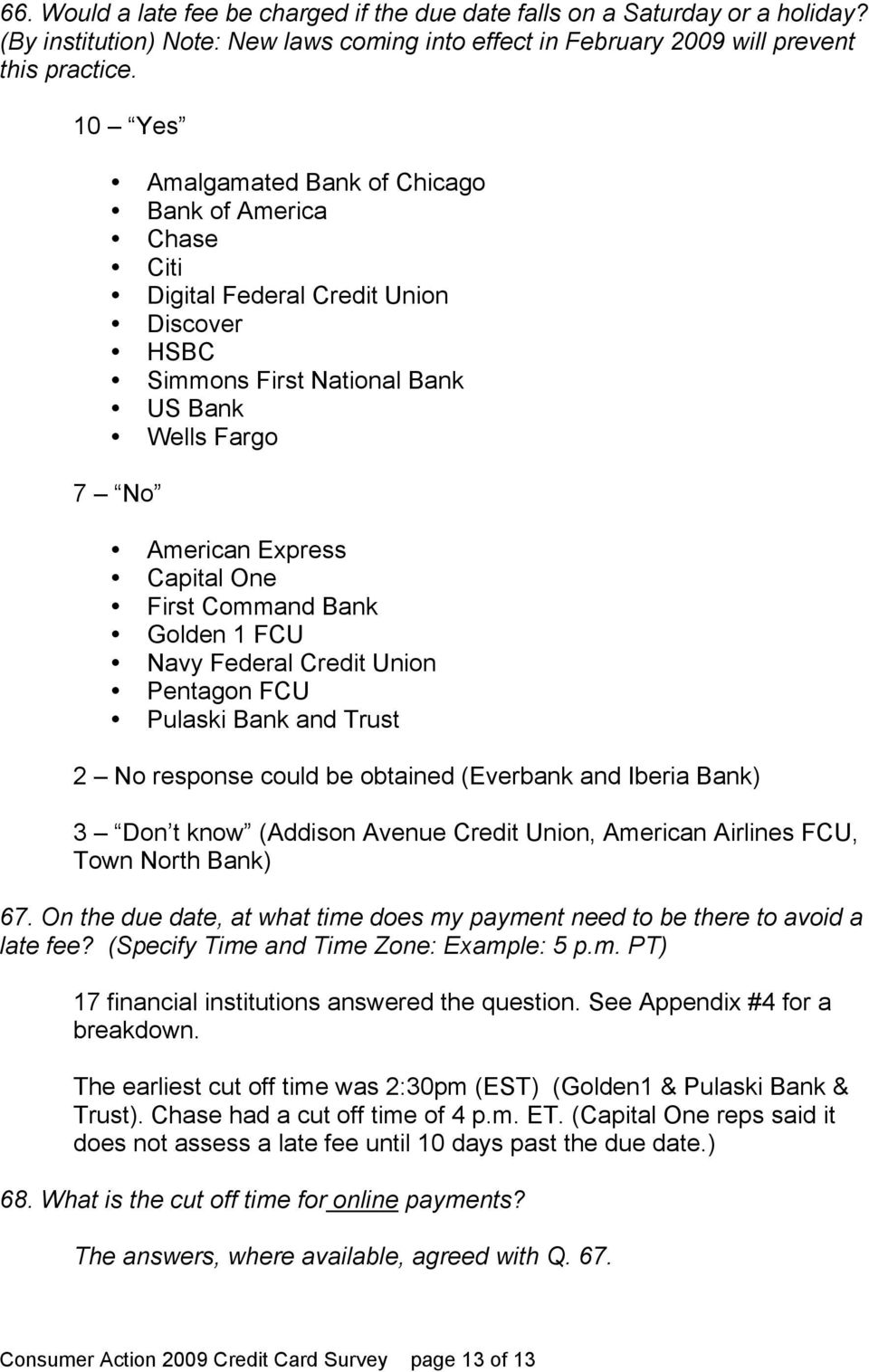 Consumer Action 2009 Credit Card Survey - PDF