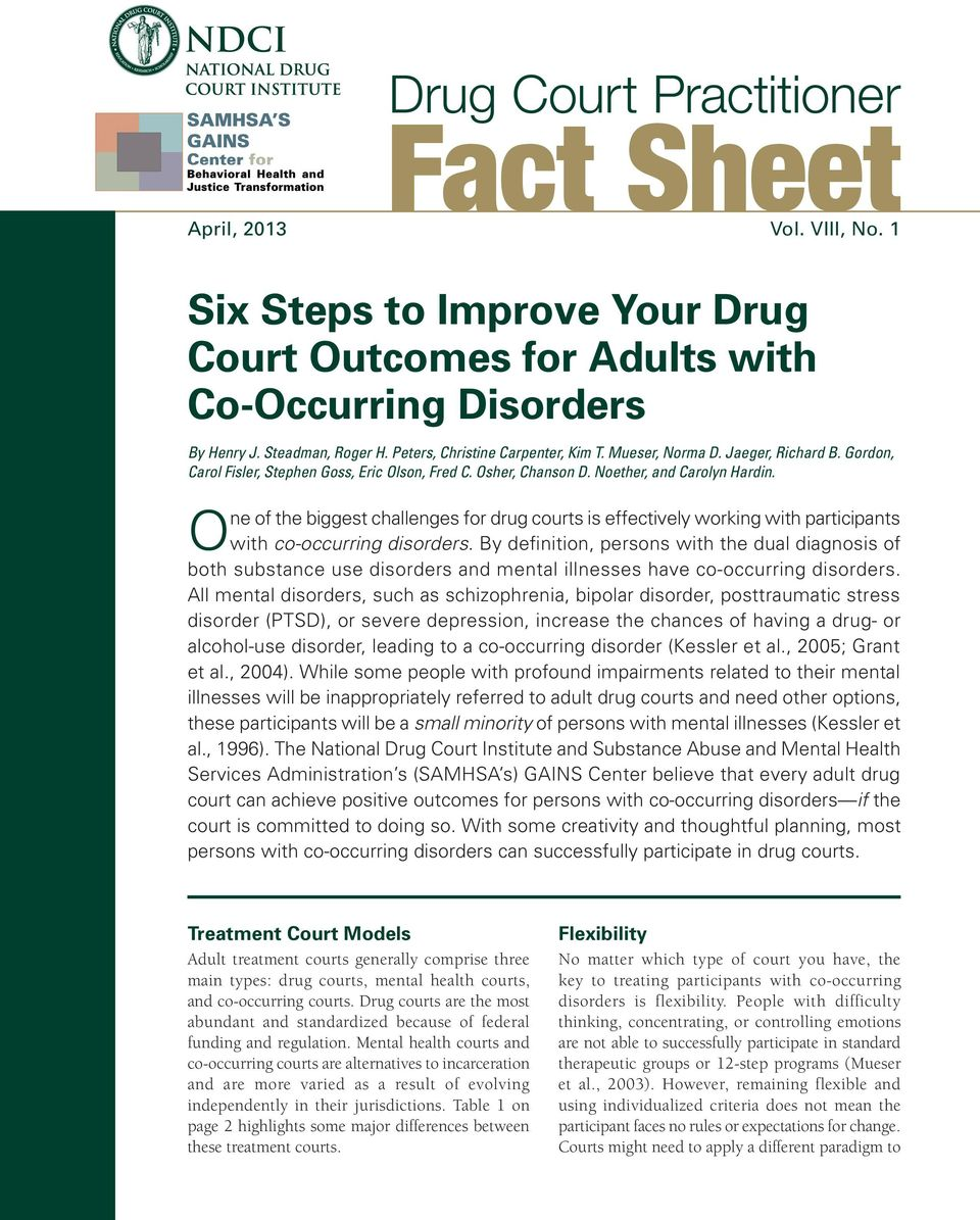 fact sheet. one of the biggest challenges for drug courts is