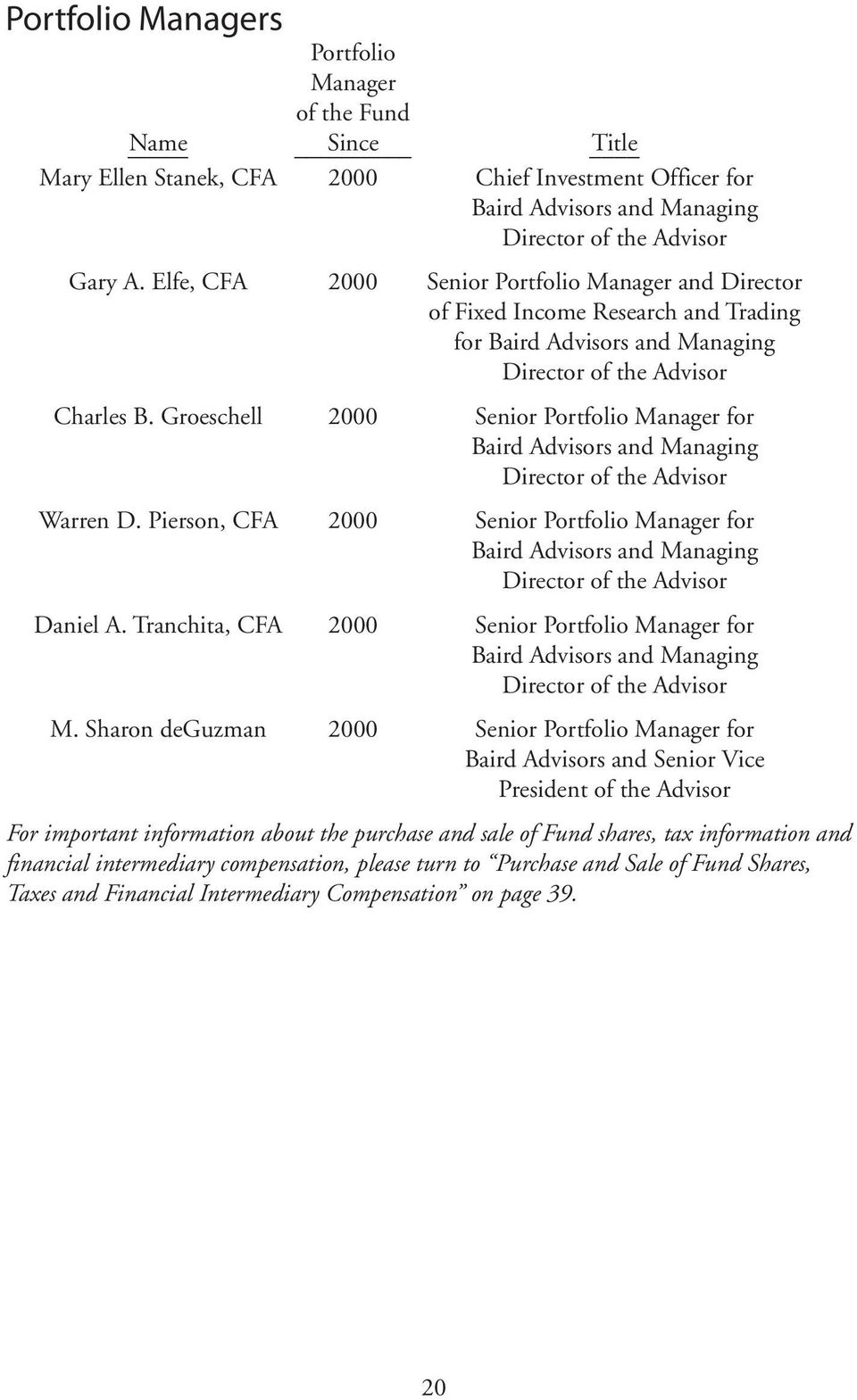Groeschell 2000 Senior Portfolio Manager for Baird Advisors and Managing Director of the Advisor Warren D.