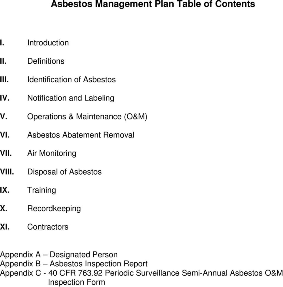 IX. Asbestos Abatement Removal Air Monitoring Disposal of Asbestos Training X. Recordkeeping XI.