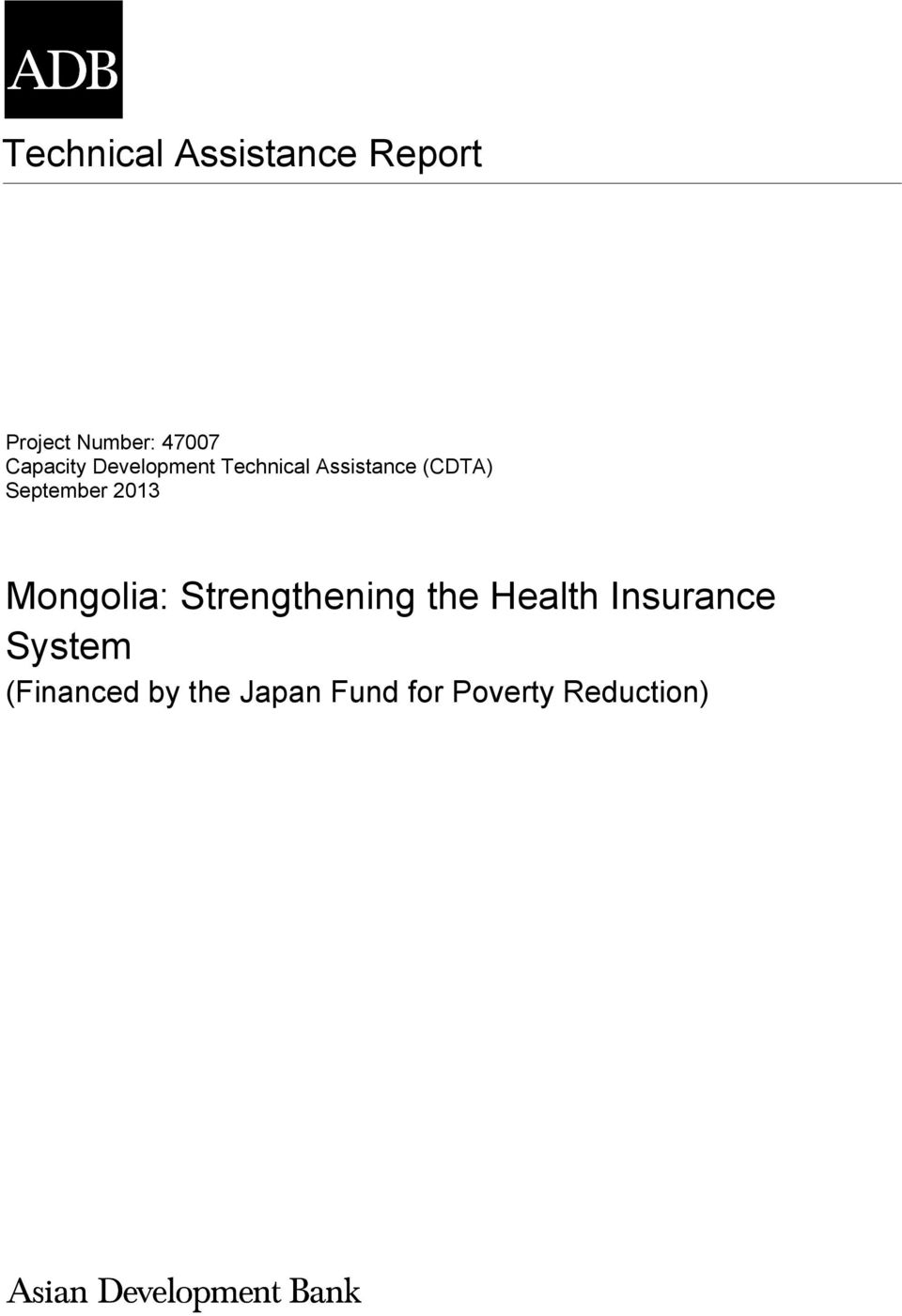 Mongolia: Strengthening the Health Insurance System - PDF