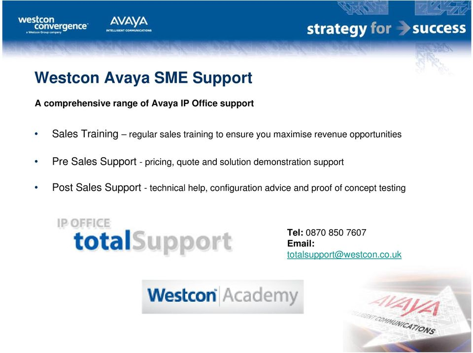 pricing, quote and solution demonstration support Post Sales Support - technical help,