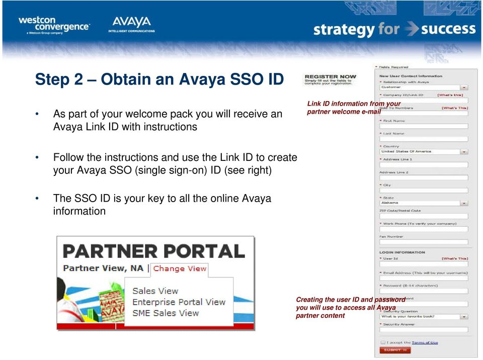 Link ID to create your Avaya SSO (single sign-on) ID (see right) The SSO ID is your key to all the