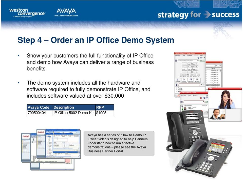 software valued at over $30,000 Avaya Code Description RRP 700500404 IP Office 5002 Demo Kit $1995 Avaya has a series of How to Demo