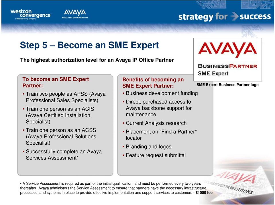 becoming an SME Expert Partner: Business development funding Direct, purchased access to Avaya backbone support for maintenance Current Analysis research Placement on Find a Partner locator Branding