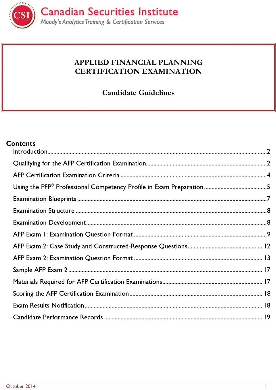 Applied Financial Planning Certification Examination Candidate