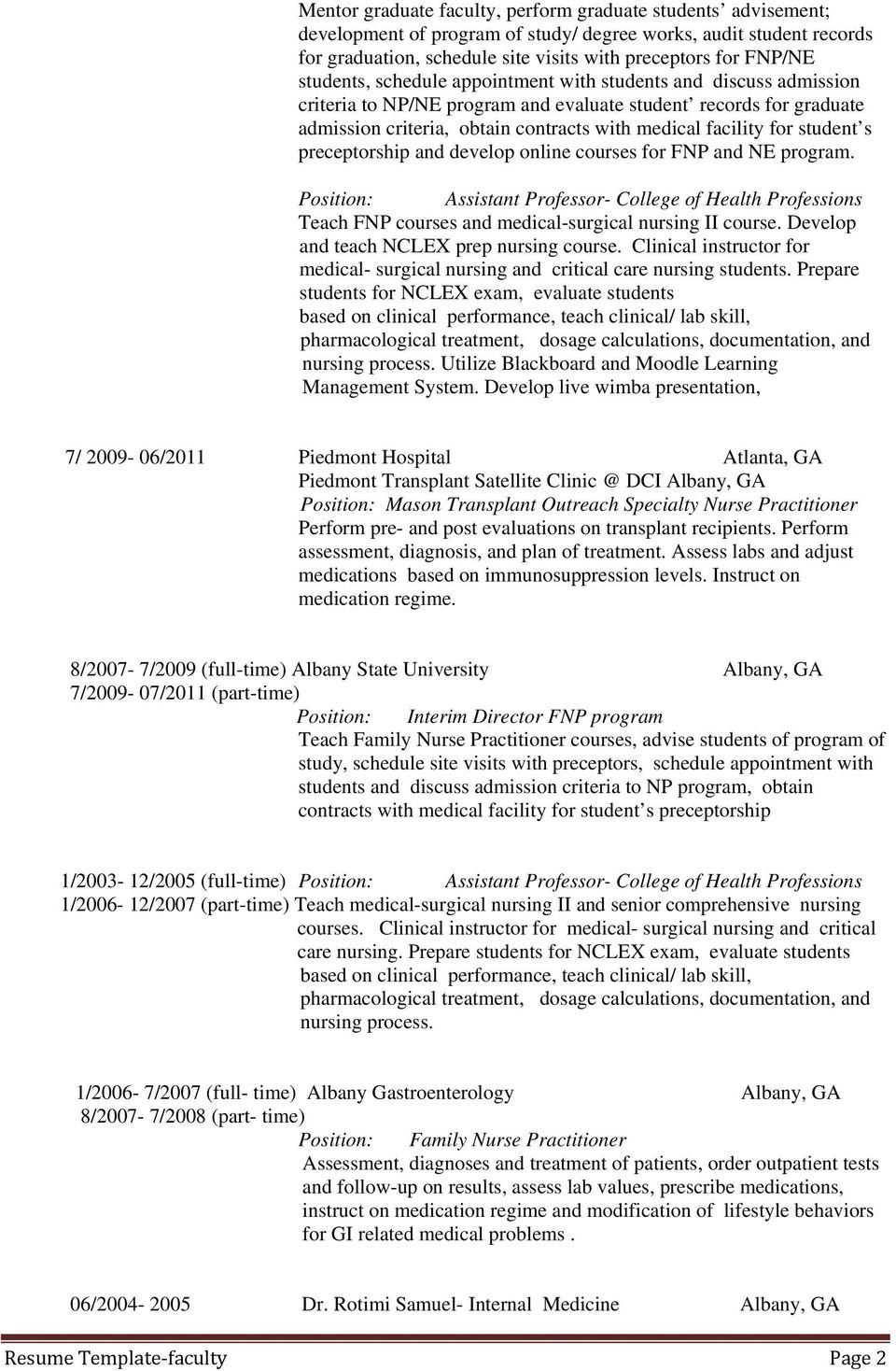 Faculty Resume Template Pdf Free Download