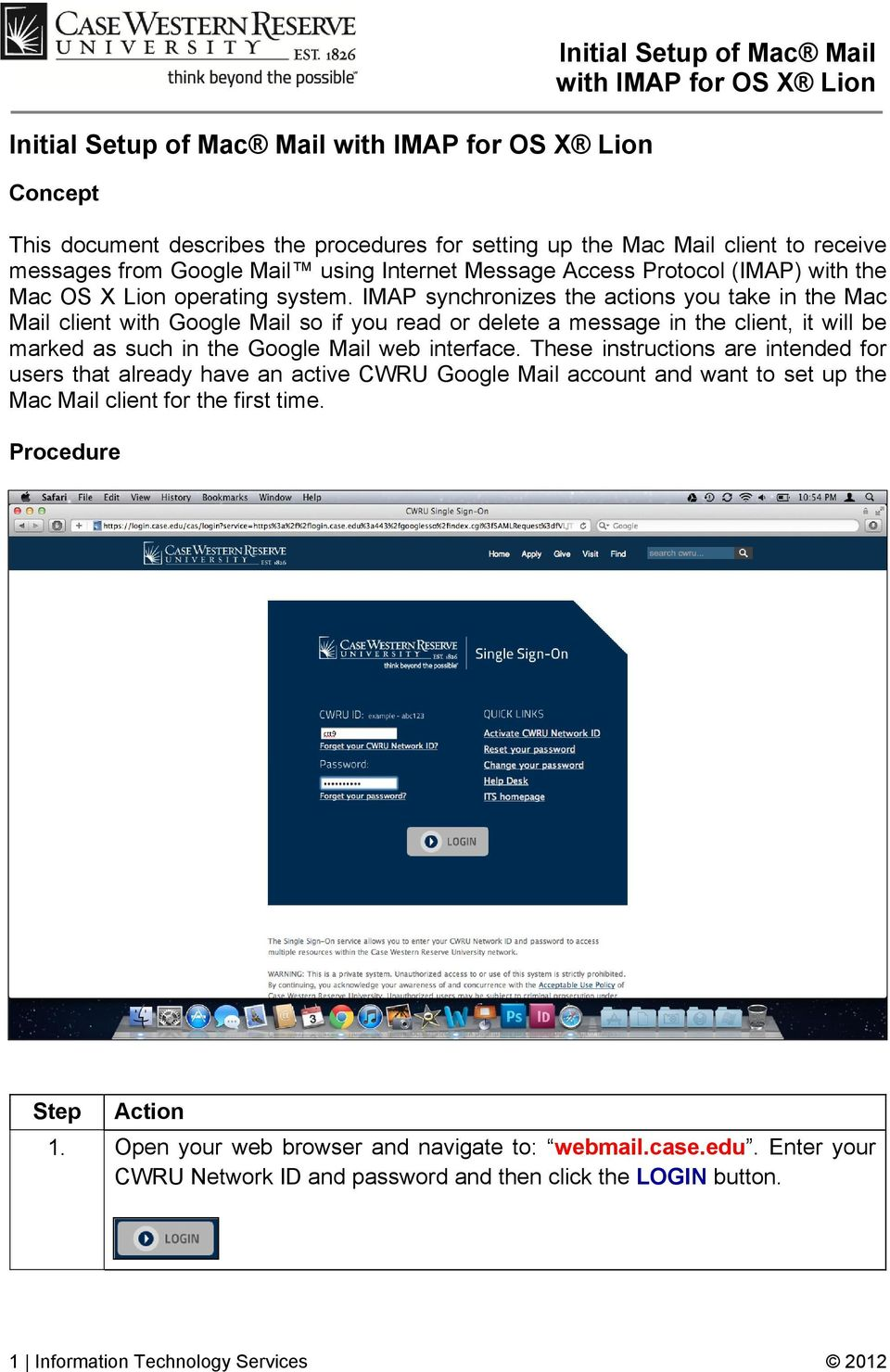 Initial Setup of Mac Mail with IMAP for OS X Lion - PDF