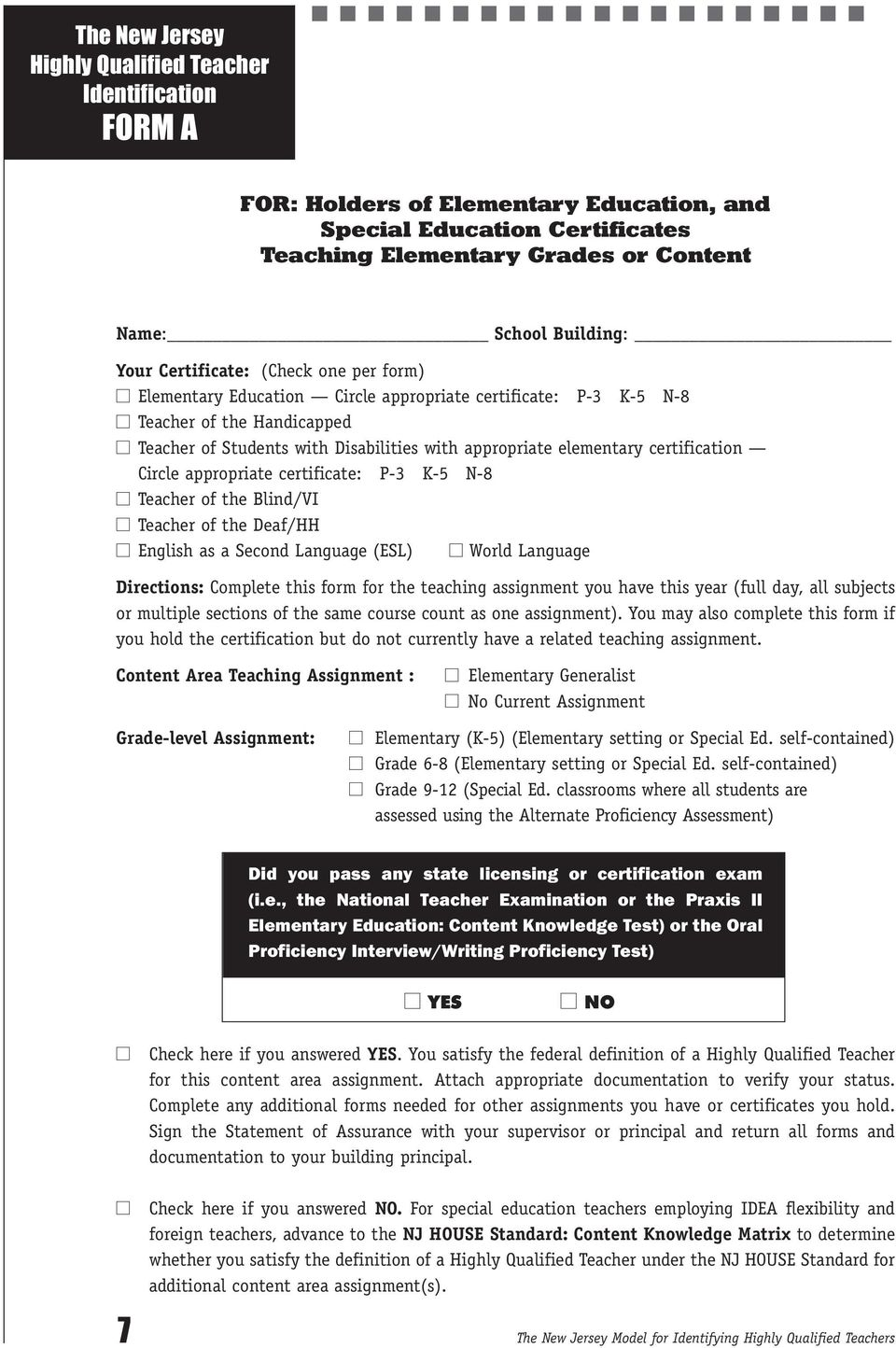 The New Jersey Highly Qualified Teacher Approved Forms Pdf