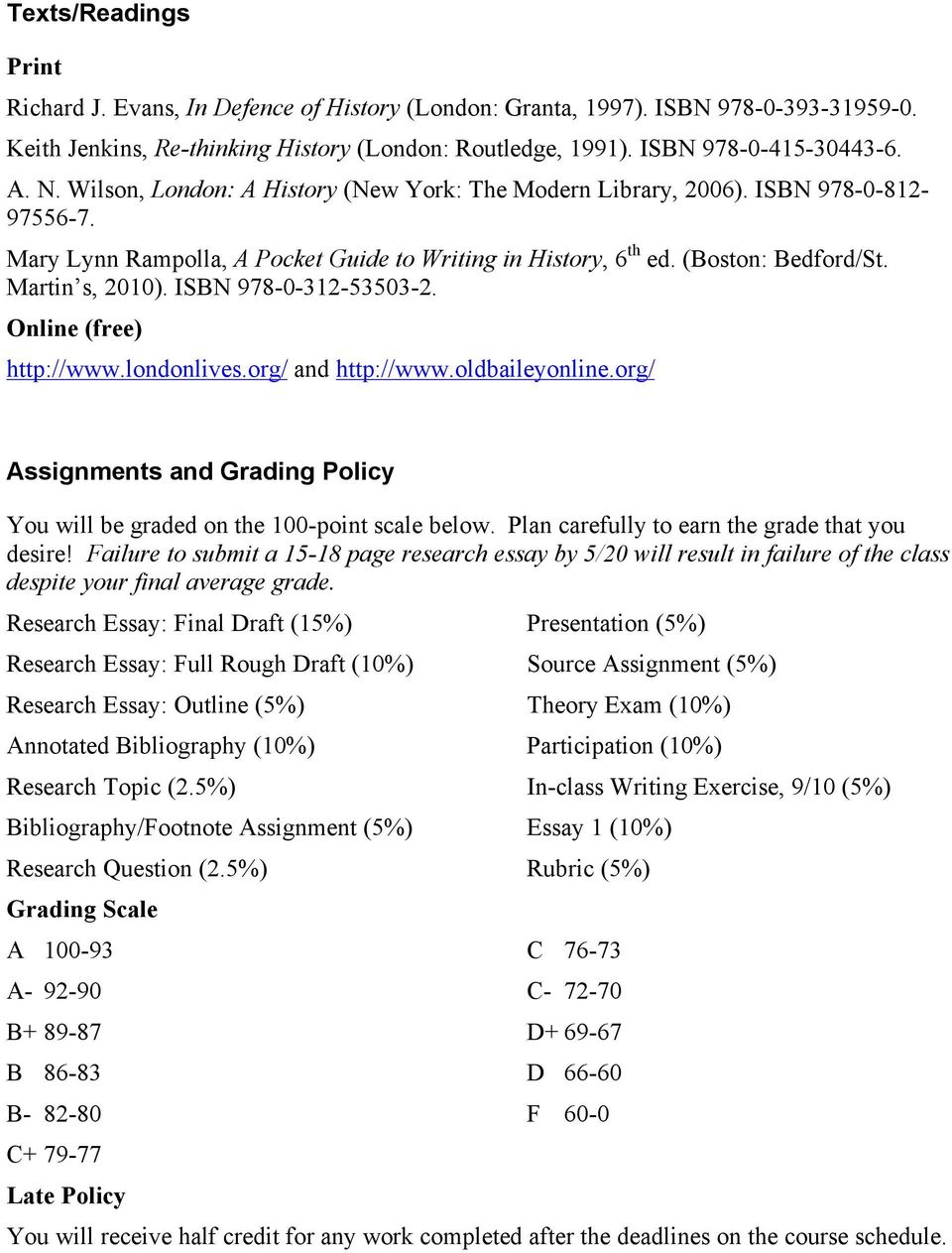 ISBN 978-0-312-53503-2. Online (free) http://www.londonlives.org/ and http://www.oldbaileyonline.org/ Assignments and Grading Policy You will be graded on the 100-point scale below.