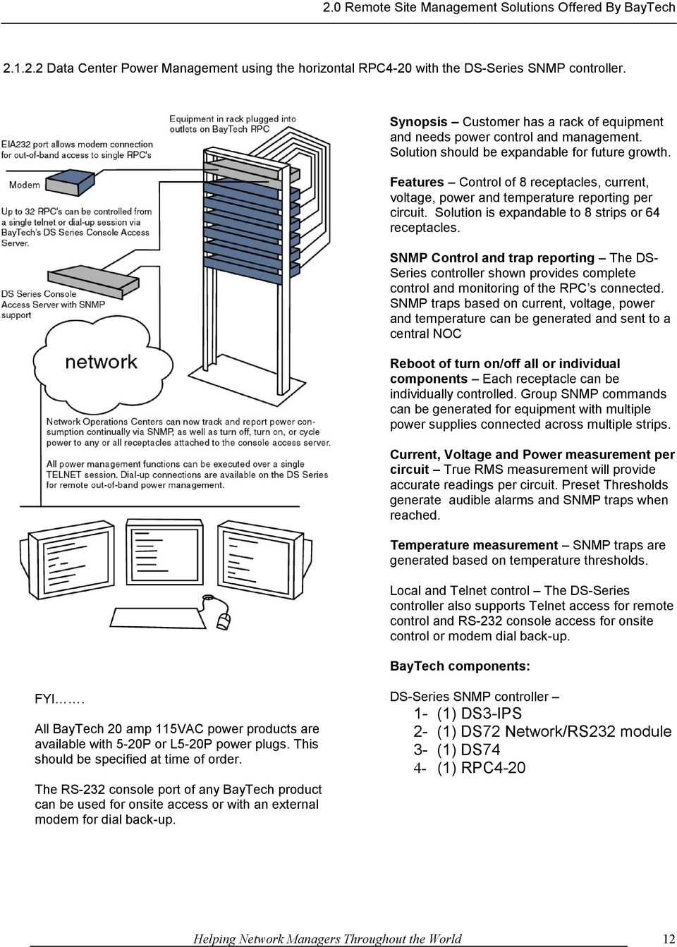 Remote Site Management Solutions Pdf Diagram Furthermore Nema L6 30 Wiring On Serial Cable Snmp Control And Trap Reporting The Ds Series Controller Shown Provides Complete Monitoring