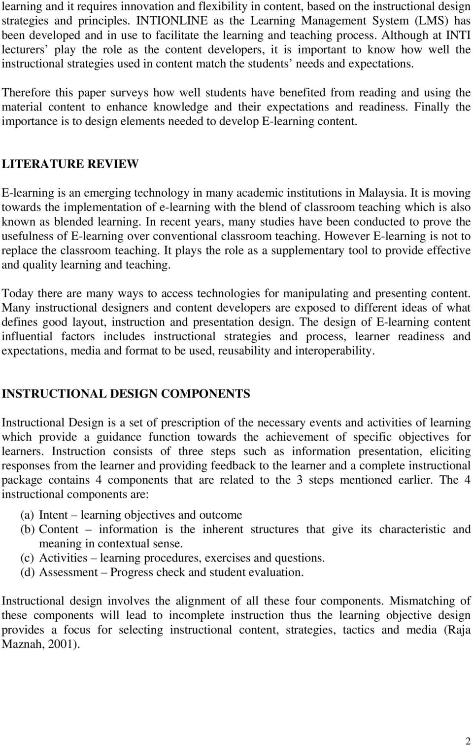 Student Centered Instructional Design For E Learning Content Learning Management System Lms Pdf Free Download