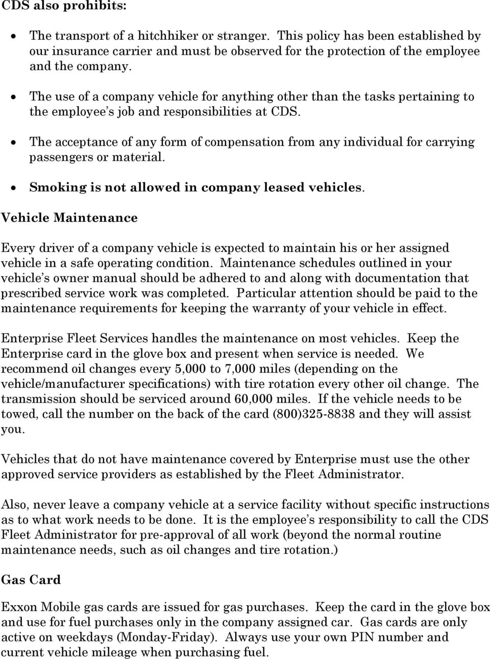 Company Vehicle Policies And Procedures Pdf Free Download