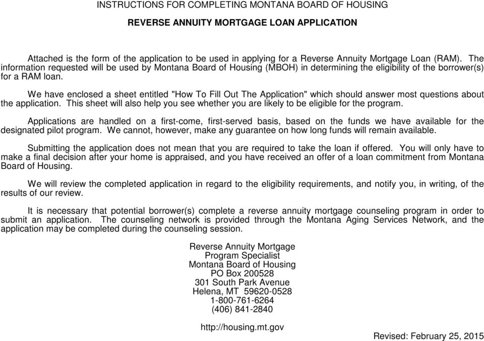 Instructions For Completing Montana Board Of Housing Reverse Annuity