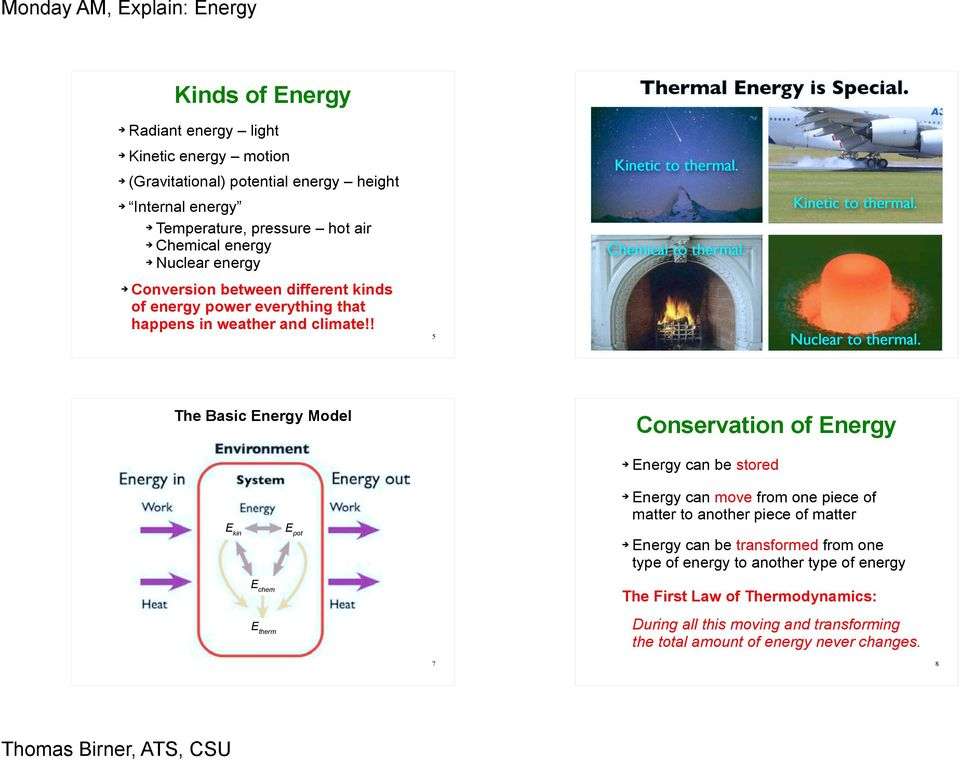 ! 5 6 The Basic Energy Model Conservation of Energy E kin E pot Energy can be stored Energy can move from one piece of matter to another piece of matter