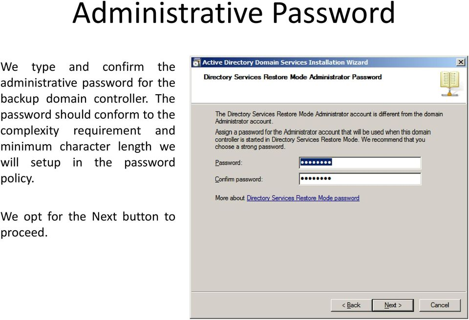 The password should conform to the complexity requirement and