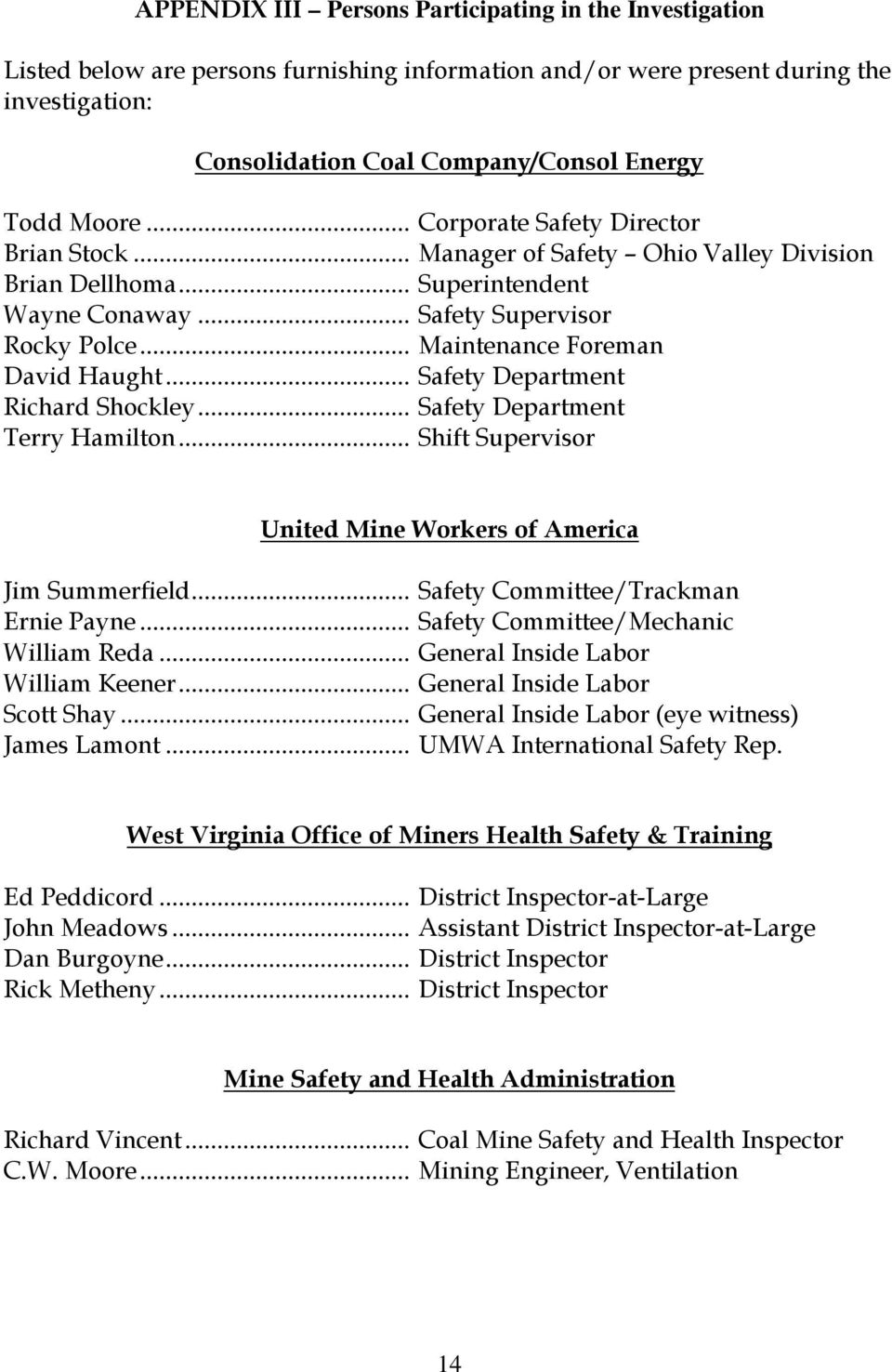 UNITED STATES DEPARTMENT OF LABOR MINE SAFETY AND HEALTH