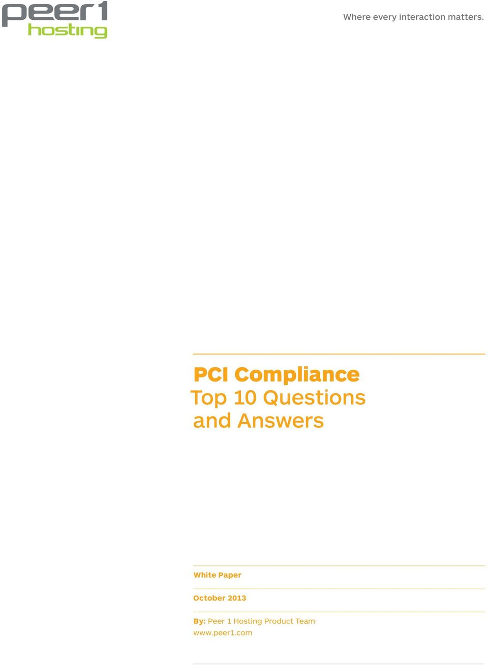 Answers White Paper October 2013 By: