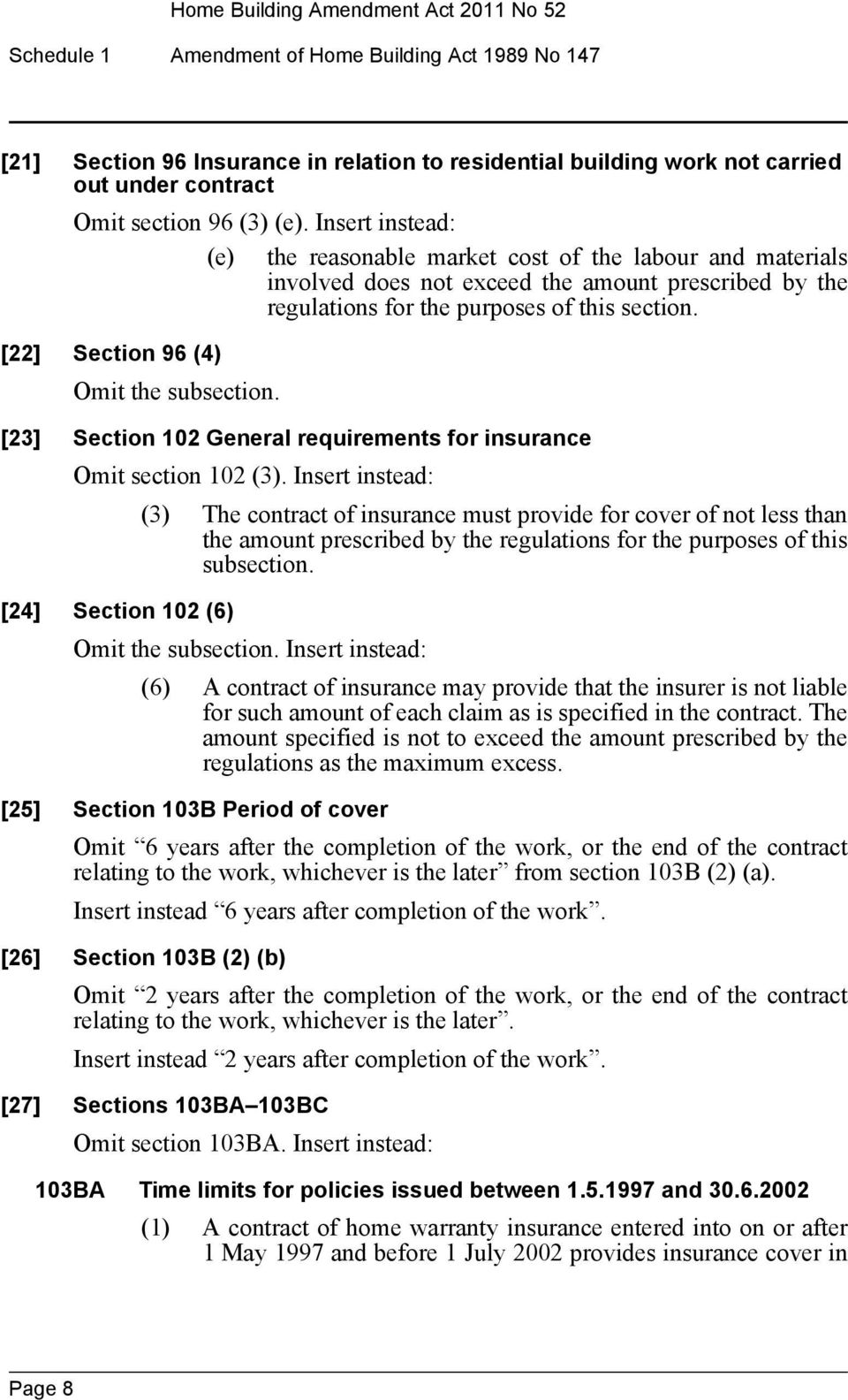 [22] Section 96 (4) Omit the subsection. [23] Section 102 General requirements for insurance Omit section 102 (3).