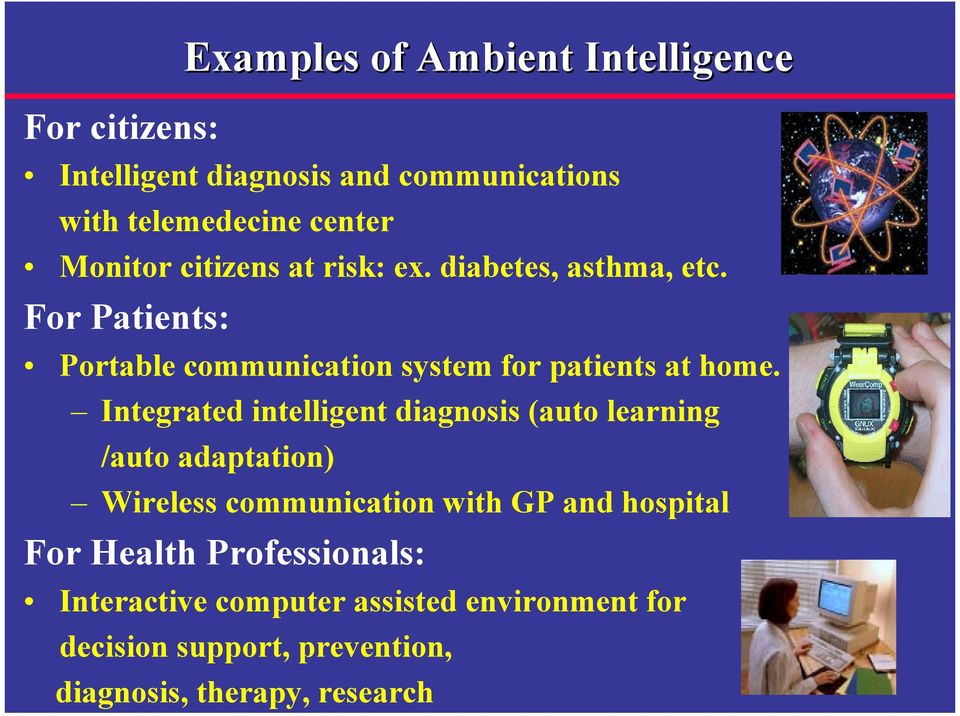 For Patients: Examples of Ambient Intelligence Portable communication system for patients at home.