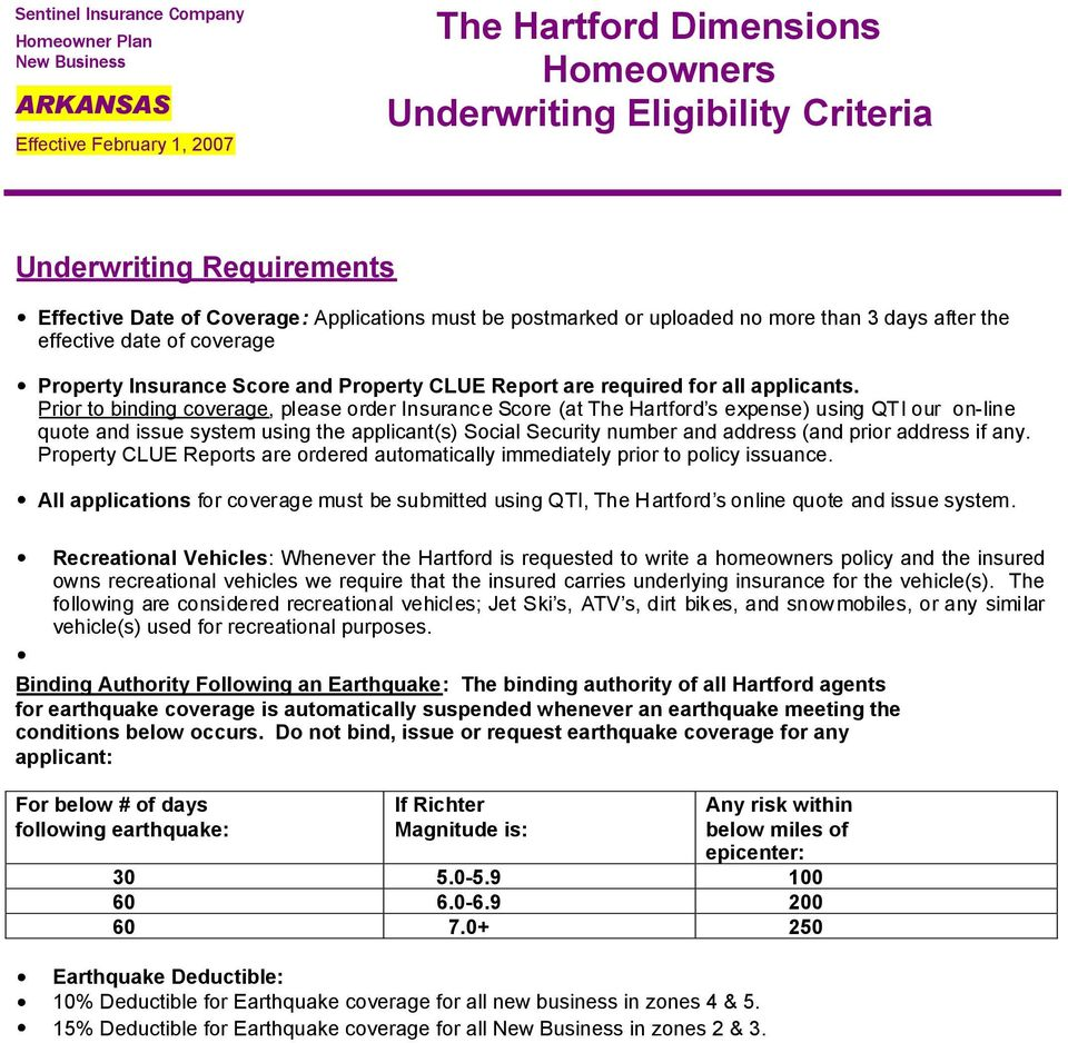 The Hartford Insurance Address >> The Hartford Dimensions Homeowners Underwriting Eligibility Criteria