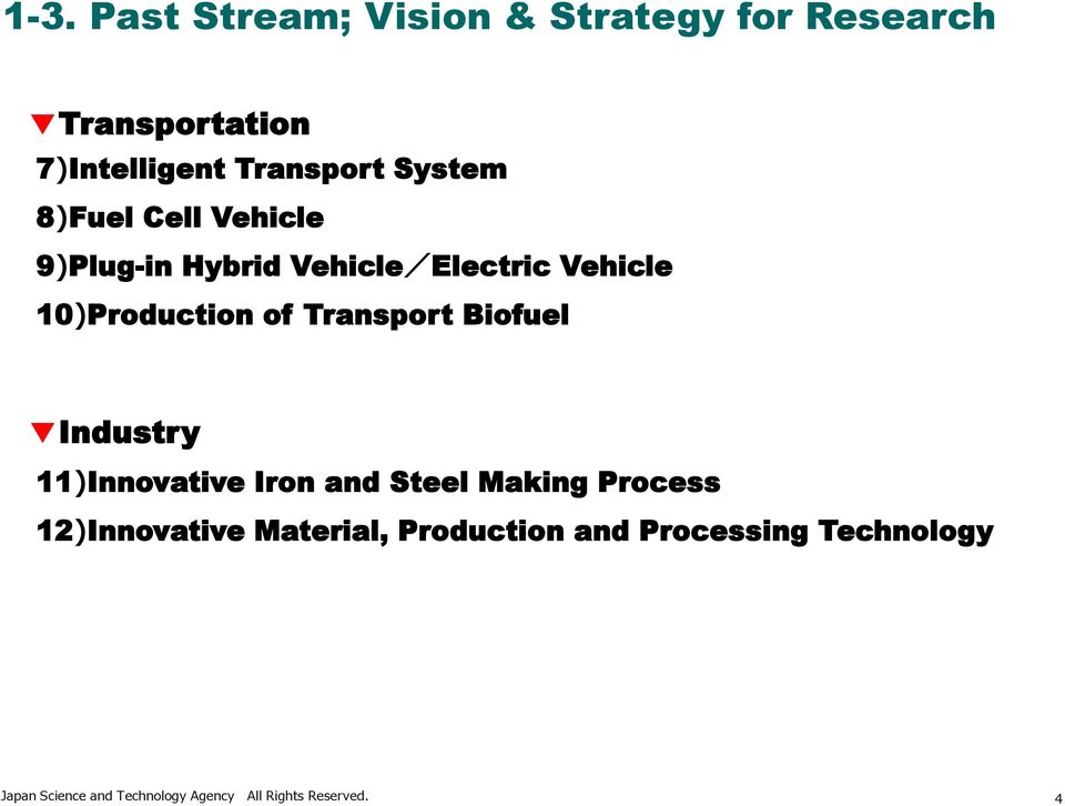 Transport Biofuel Industry 11)Innovative Iron and Steel Making Process 12)Innovative