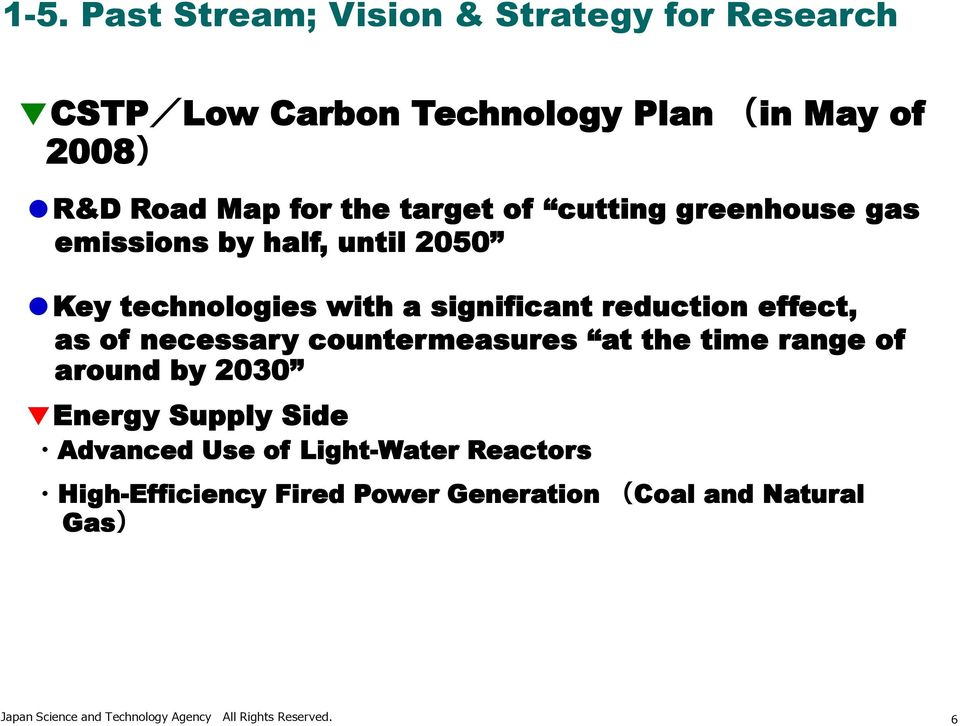 of necessary countermeasures at the time range of around by 2030 Energy Supply Side Advanced Use of Light-Water