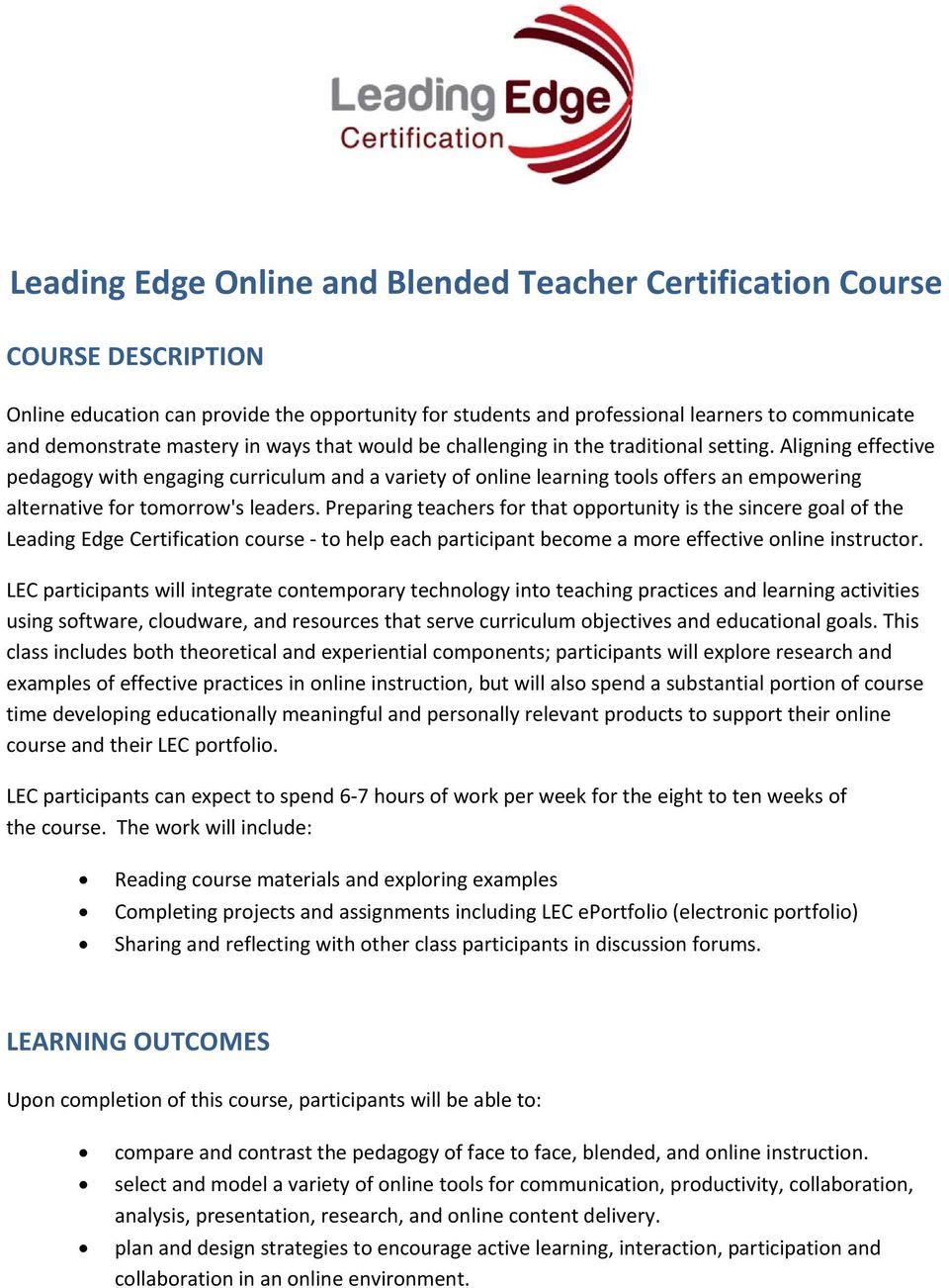 Leading Edge Online And Blended Teacher Certification Course Pdf