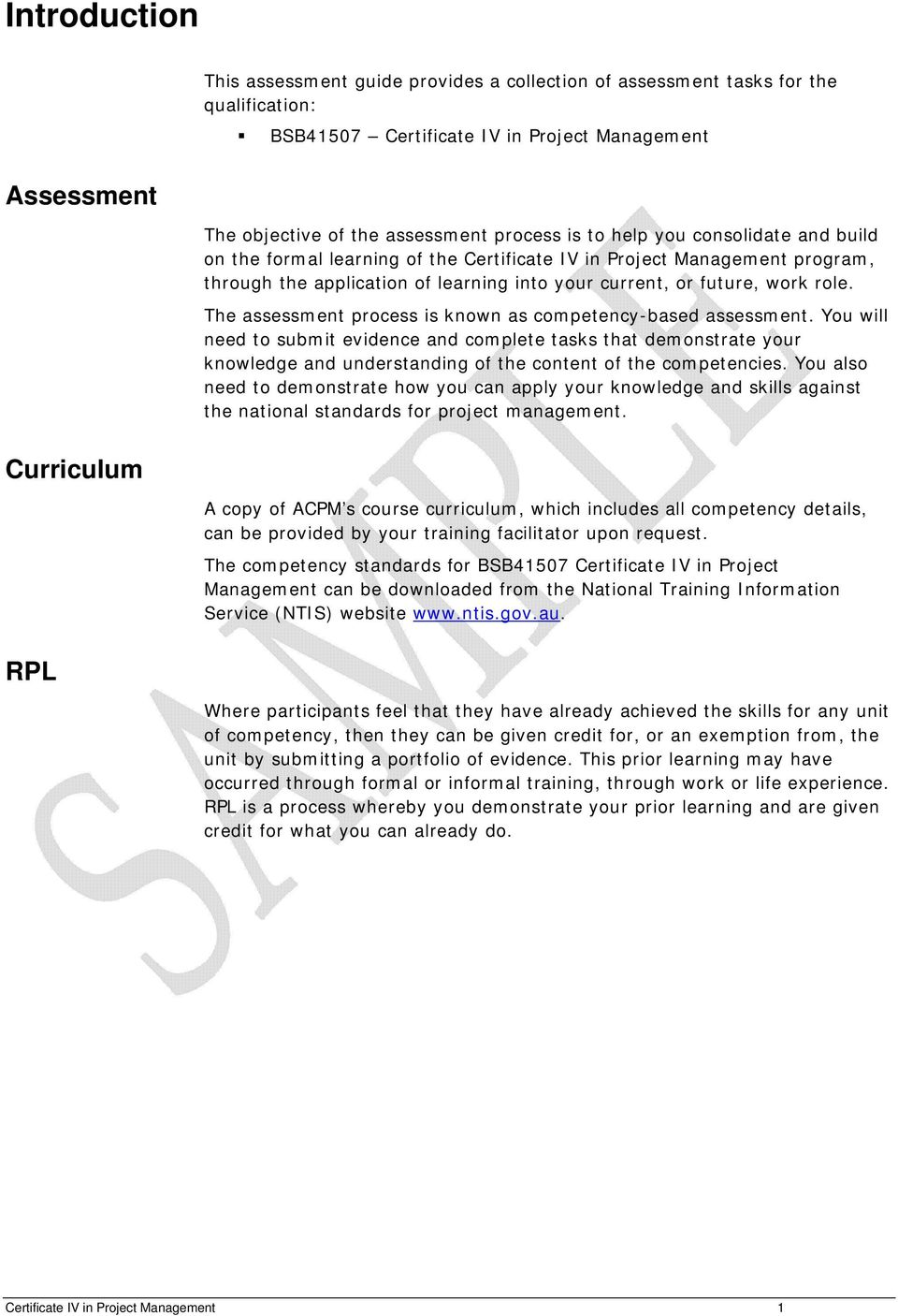 Assessment Guide Certificate Iv In Project Management Bsb Pdf