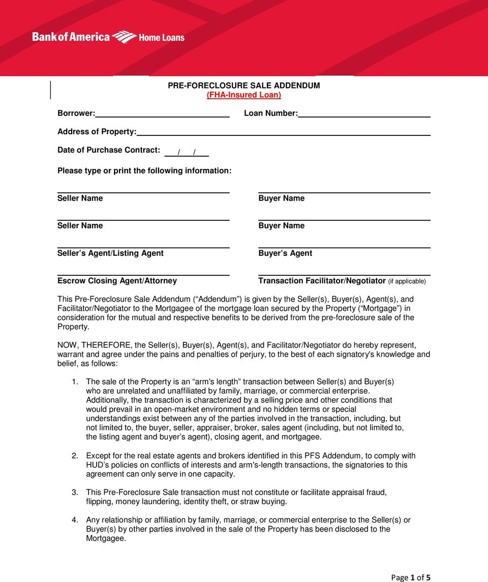 Pre Foreclosure Sale Addendum Fha Insured Loan Pdf