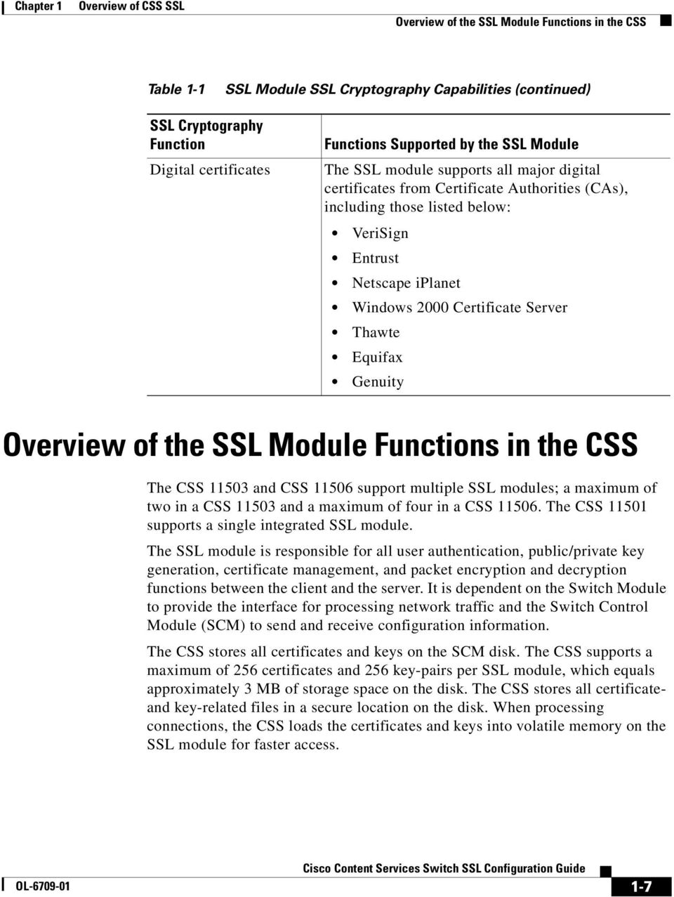 Thawte Equifax Genuity Overview of the SSL Module Functions in the CSS The CSS 11503 and CSS 11506 support multiple SSL modules; a maximum of two in a CSS 11503 and a maximum of four in a CSS 11506.