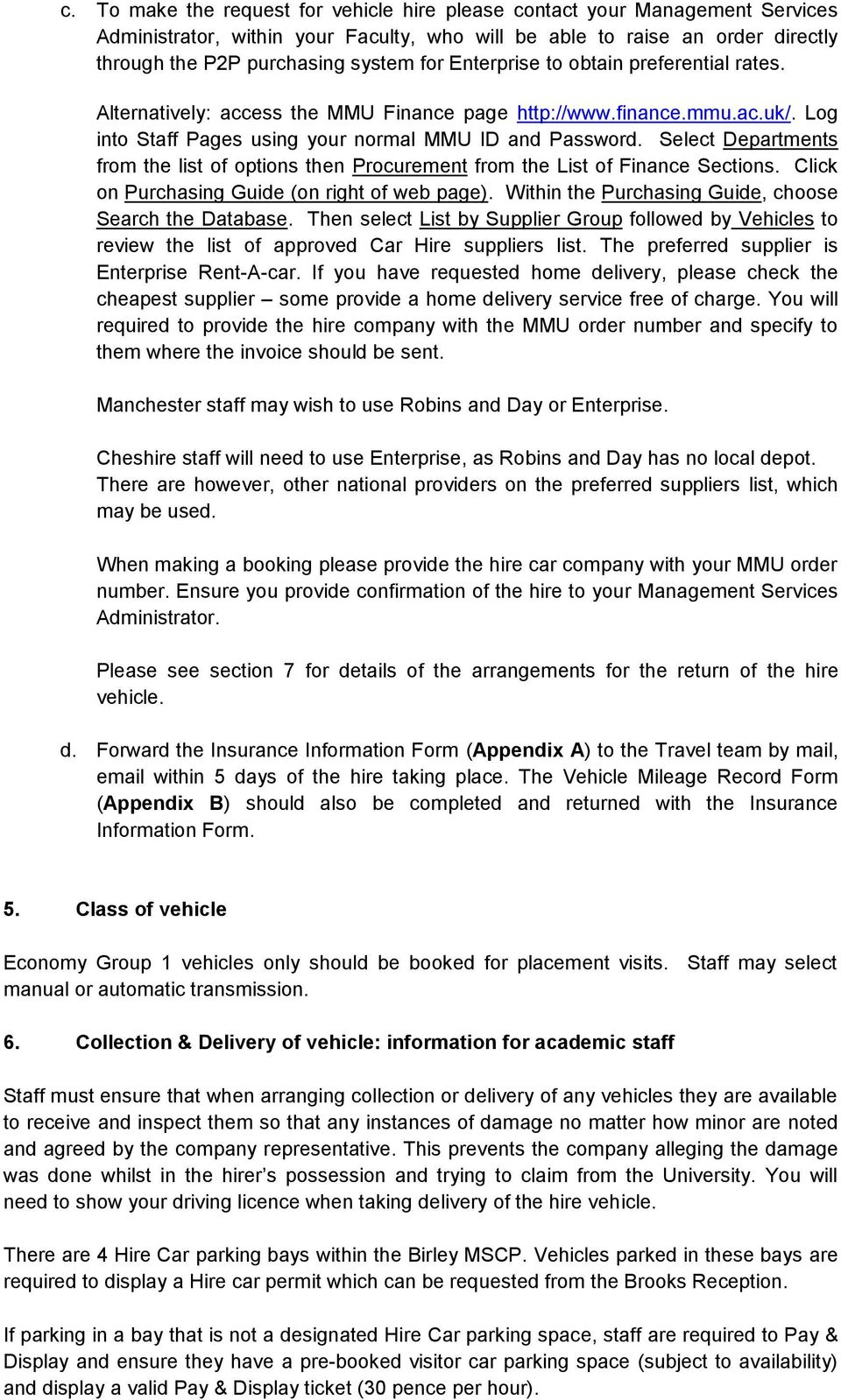 MMU Vehicle Hire Policy: Information for Staff booking