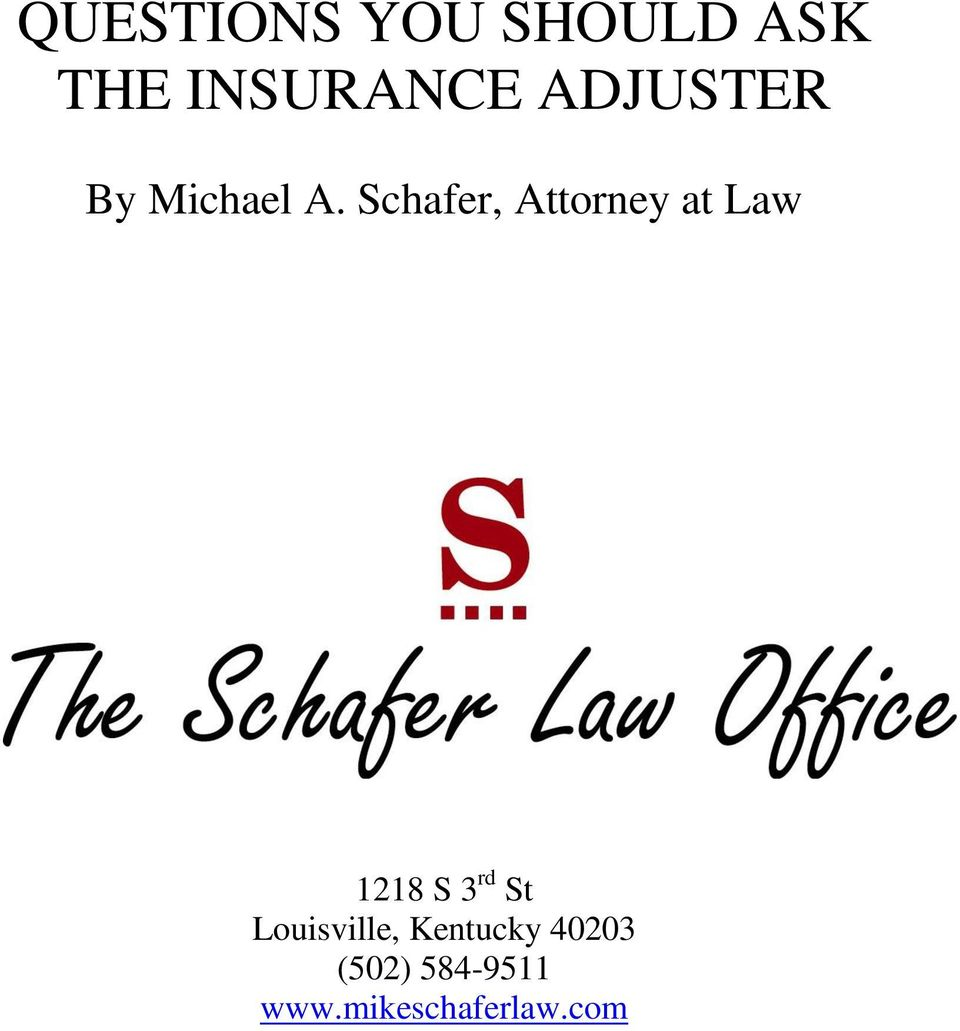 Schafer, Attorney at Law 1218 S 3 rd St