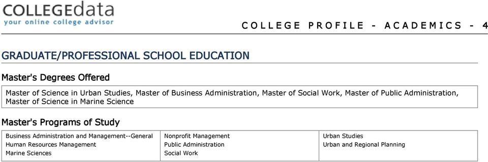 Master of Science in Marine Science Master's Programs of Study Business Administration and Management--General Human