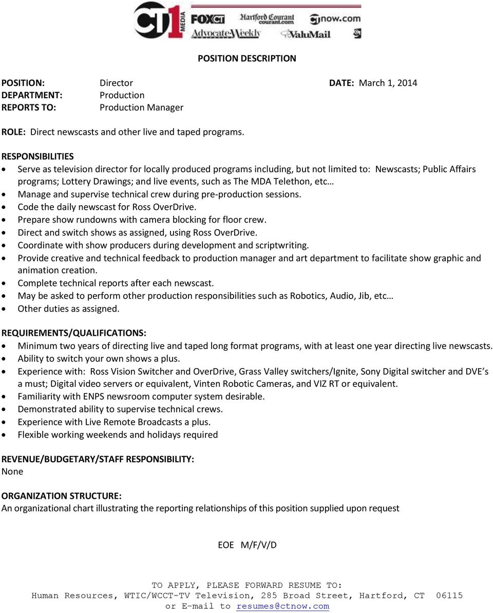 POSITION DESCRIPTION  POSITION: HR Manager DATE: March 1, 2014