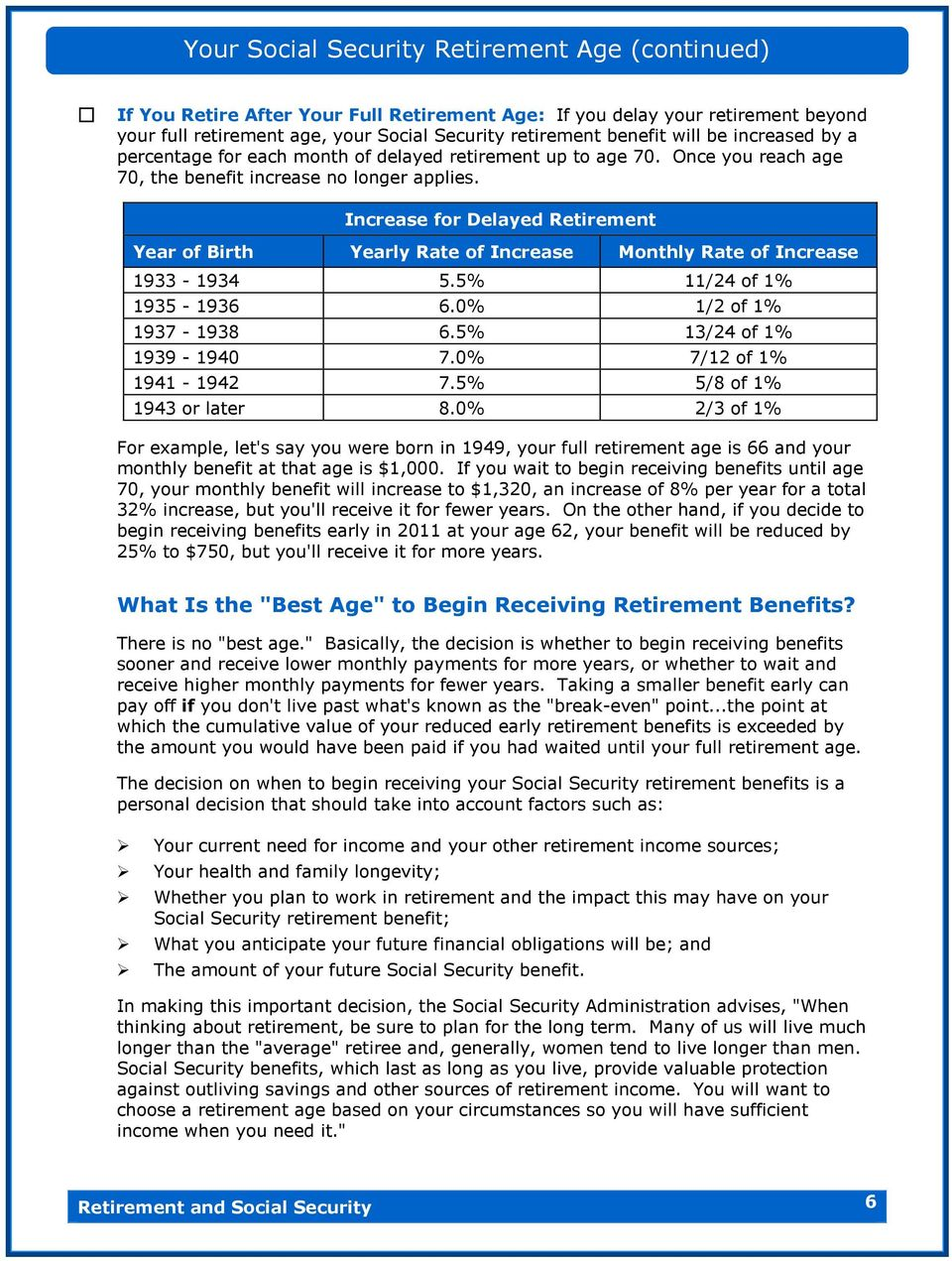 Increase for Delayed Retirement Year of Birth Yearly Rate of Increase Monthly Rate of Increase 1933-1934 5.5% 11/24 of 1% 1935-1936 6.0% 1/2 of 1% 1937-1938 6.5% 13/24 of 1% 1939-1940 7.