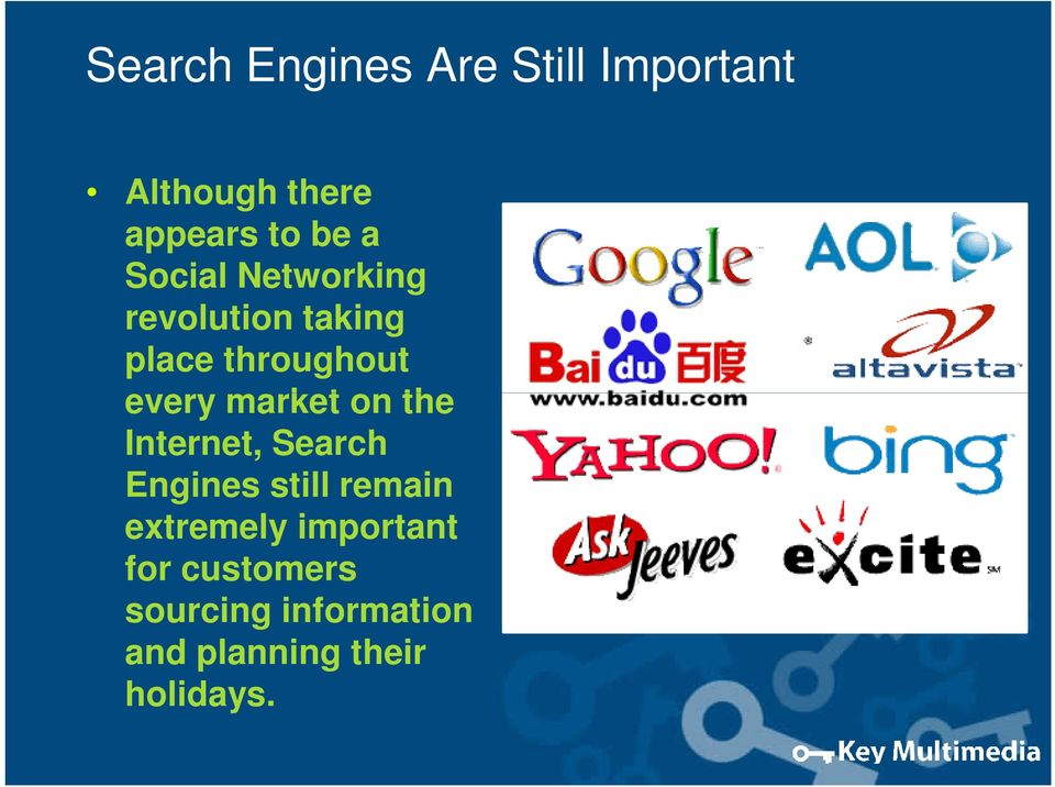 market on the Internet, Search Engines still remain extremely