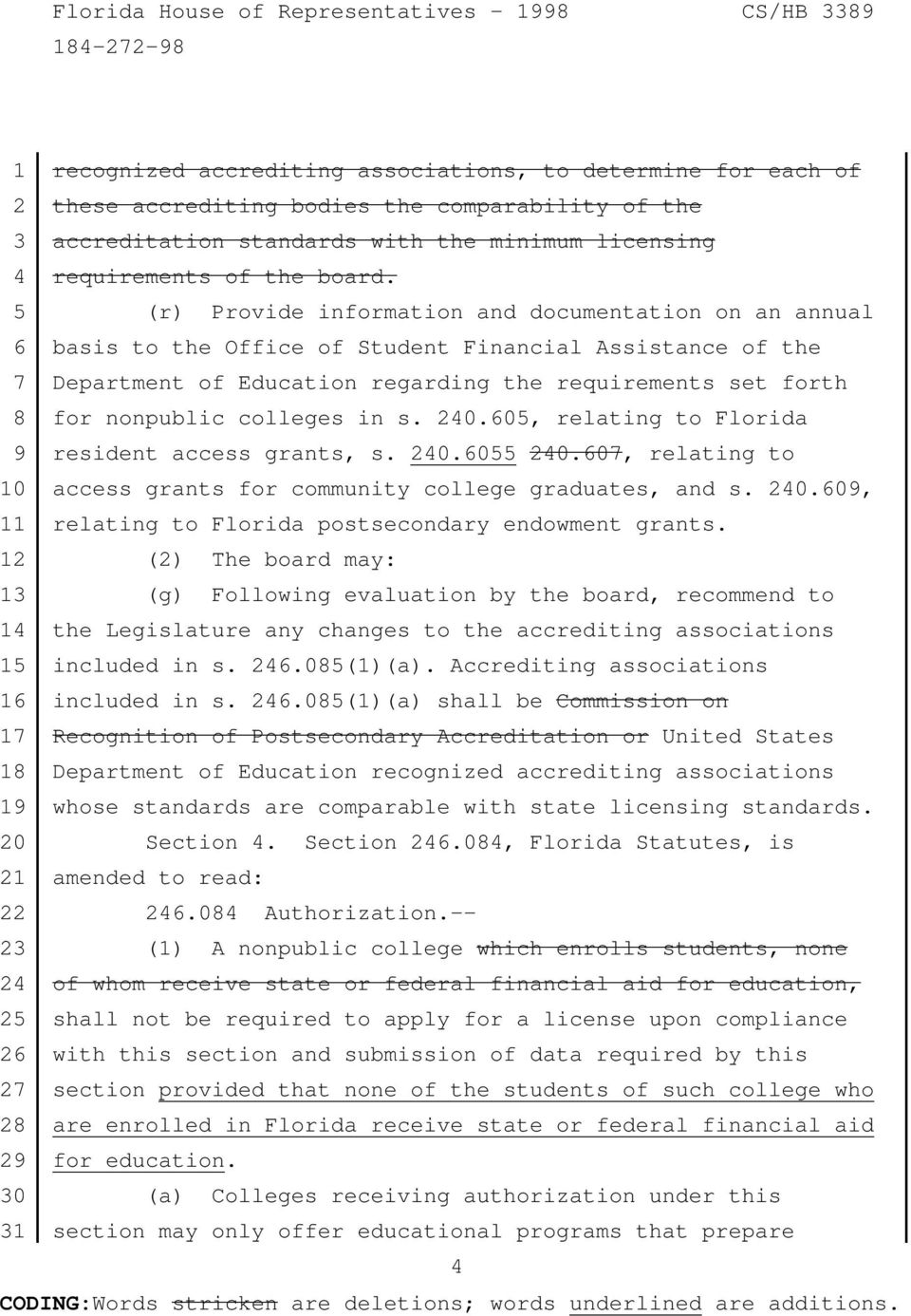 colleges in s. 240.605, relating to Florida 9 resident access grants, s. 240.6055 240.607, relating to 10 access grants for community college graduates, and s. 240.609, 11 relating to Florida postsecondary endowment grants.