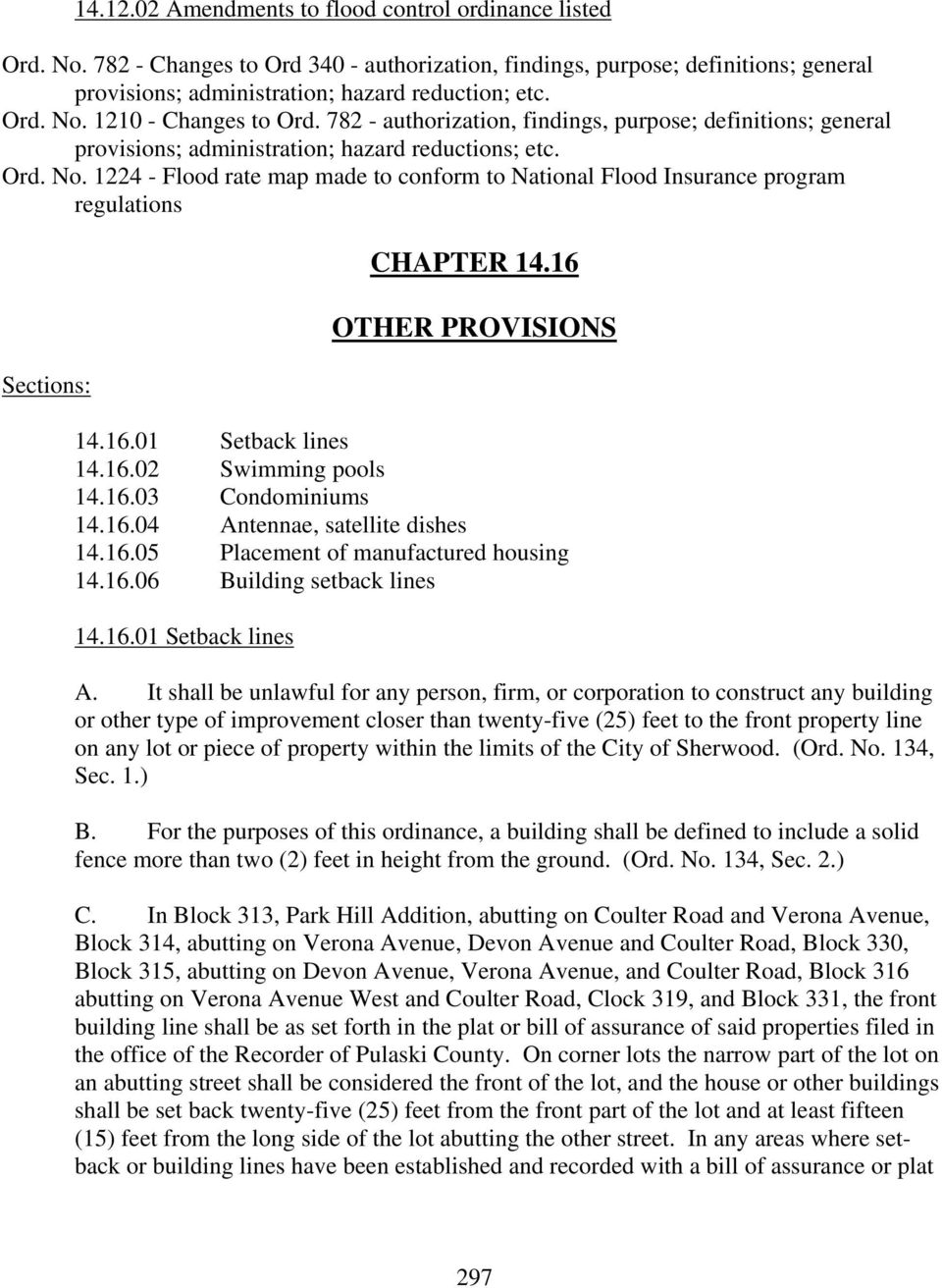 TITLE 14 ZONING CHAPTER ZONING ORDINANCE ADOPTED BY