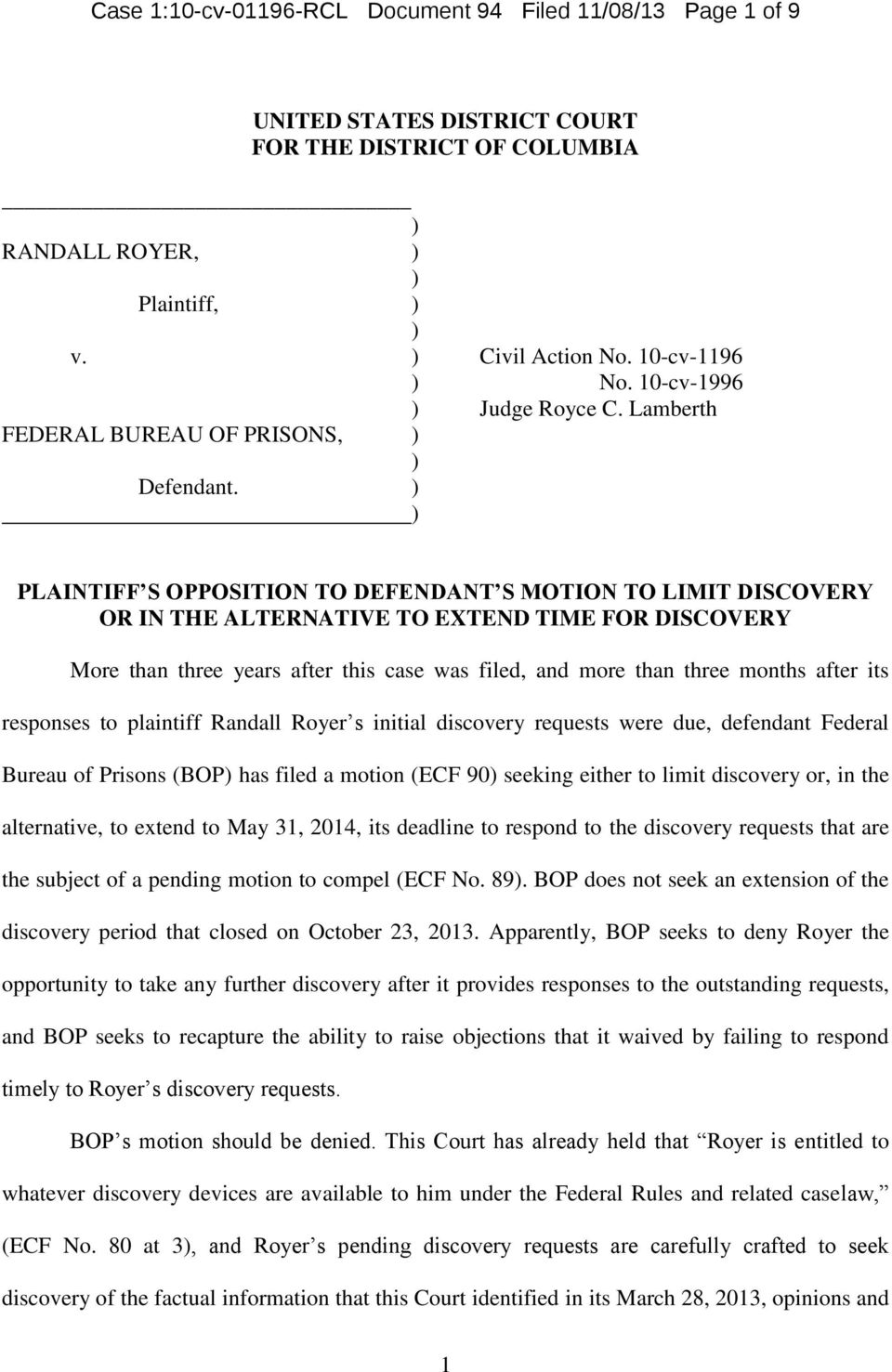 Case 1:10-cv RCL Document 94 Filed 11/08/13 Page 1 of 9
