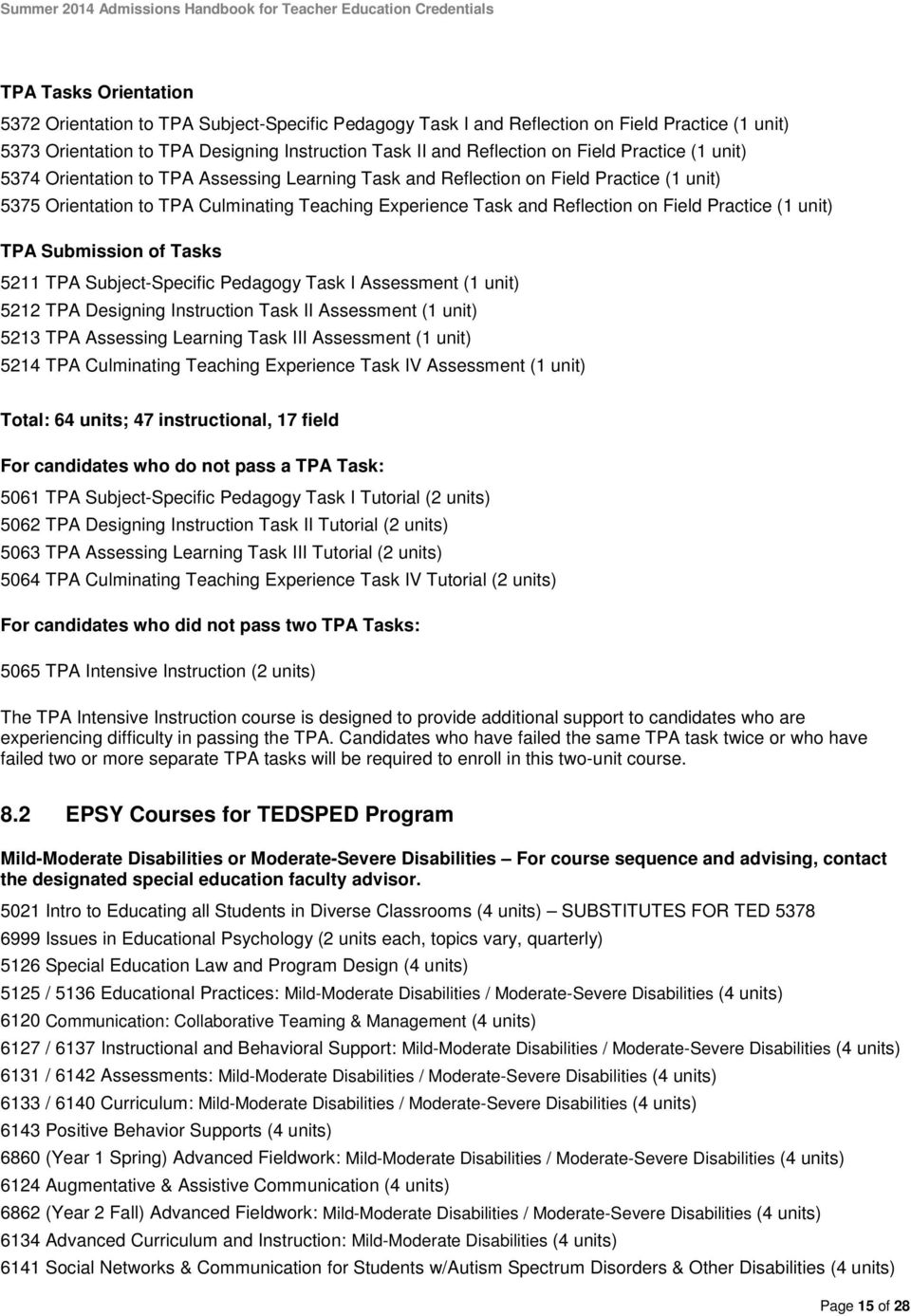 Teacher Credential Programs Admissions Handbook Summer Entry Pdf Free Download