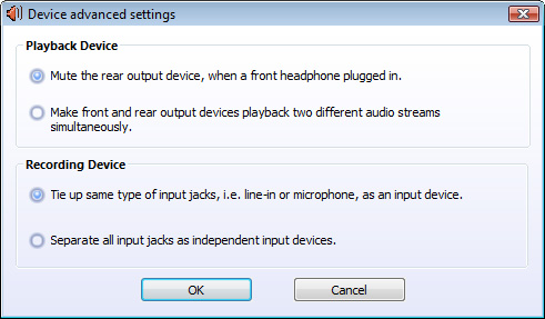 Audio configurations  D084 v2 0  A  Realtek HD Audio Manager for