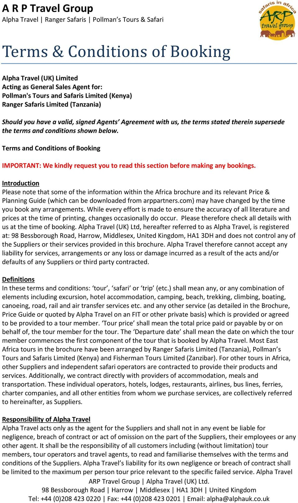 Terms & Conditions of Booking - PDF