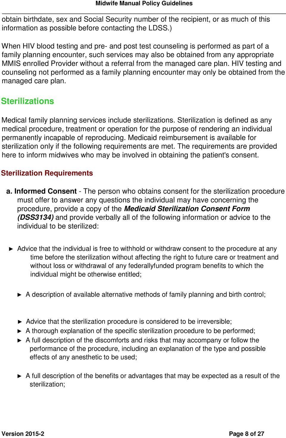 NEW YORK STATE MEDICAID PROGRAM MIDWIFE MANUAL POLICY