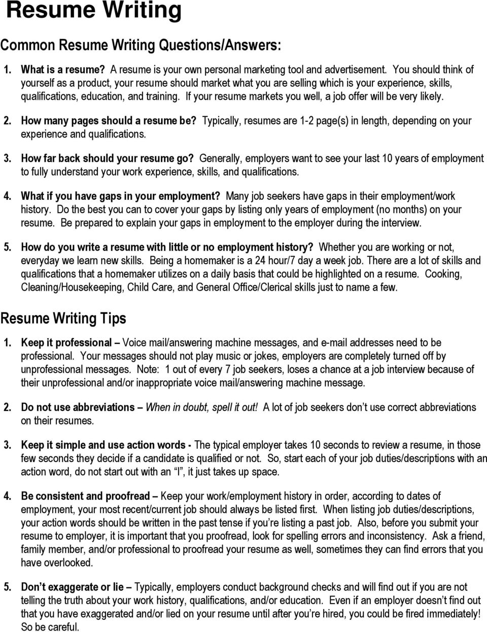 Resume Writing Common Questions Answers